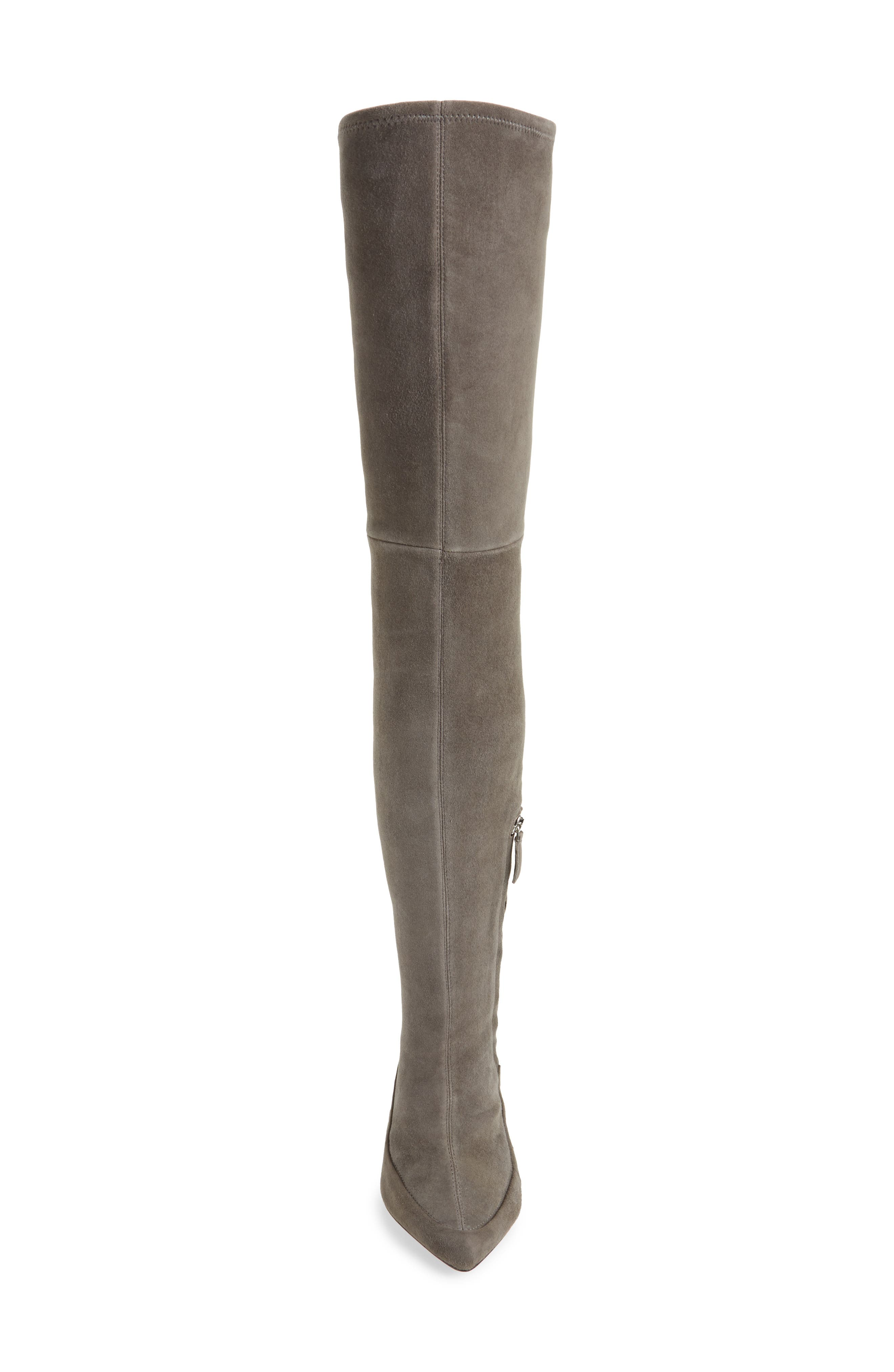 Cassie Thigh High Boot,                             Alternate thumbnail 4, color,                             Anthracite Suede