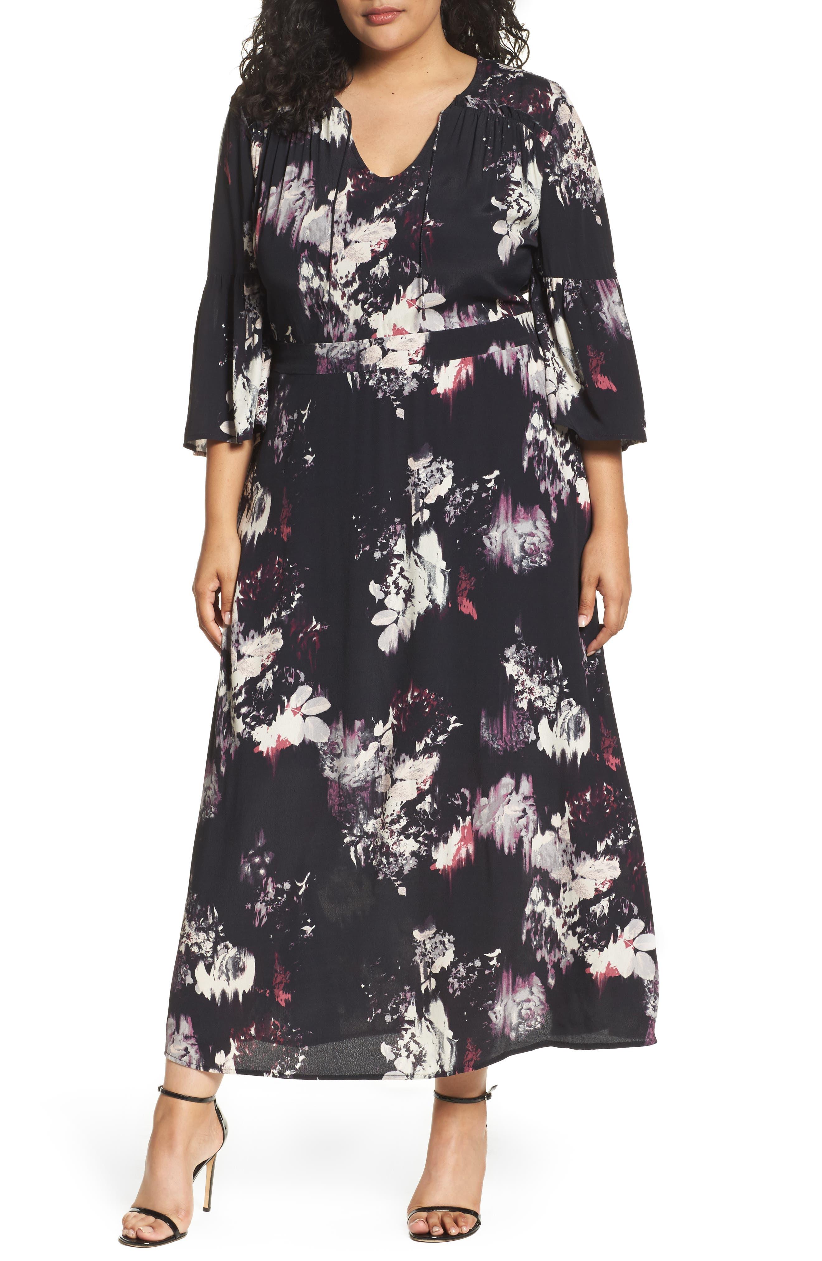 Main Image - Sejour Bell Sleeve A-Line Maxi Dress (Plus Size)