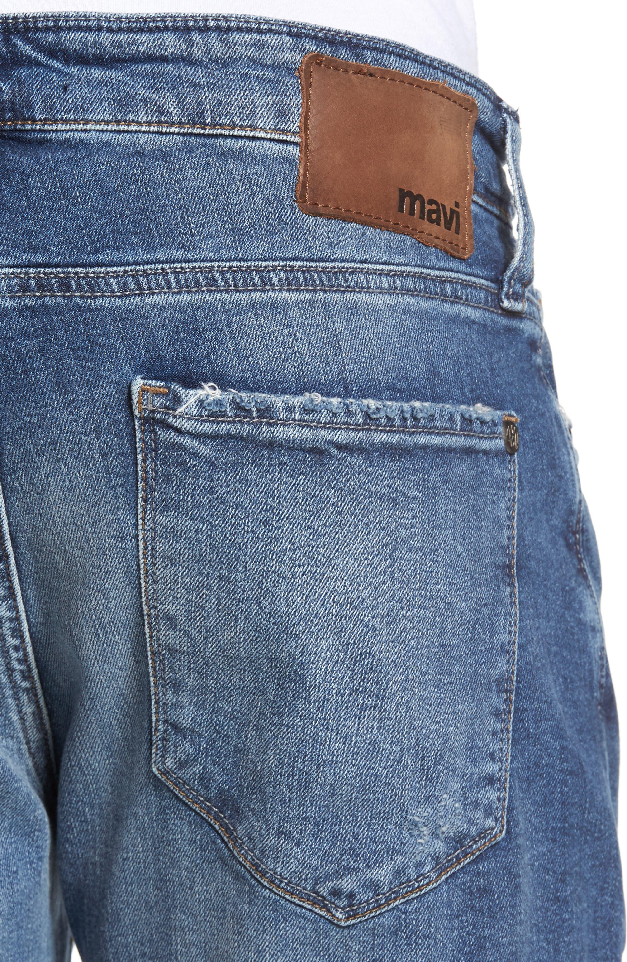 Alternate Image 4  - Mavi Jeans Marcus Slim Straight Leg Jeans (Destroyed Authentic Vintage)