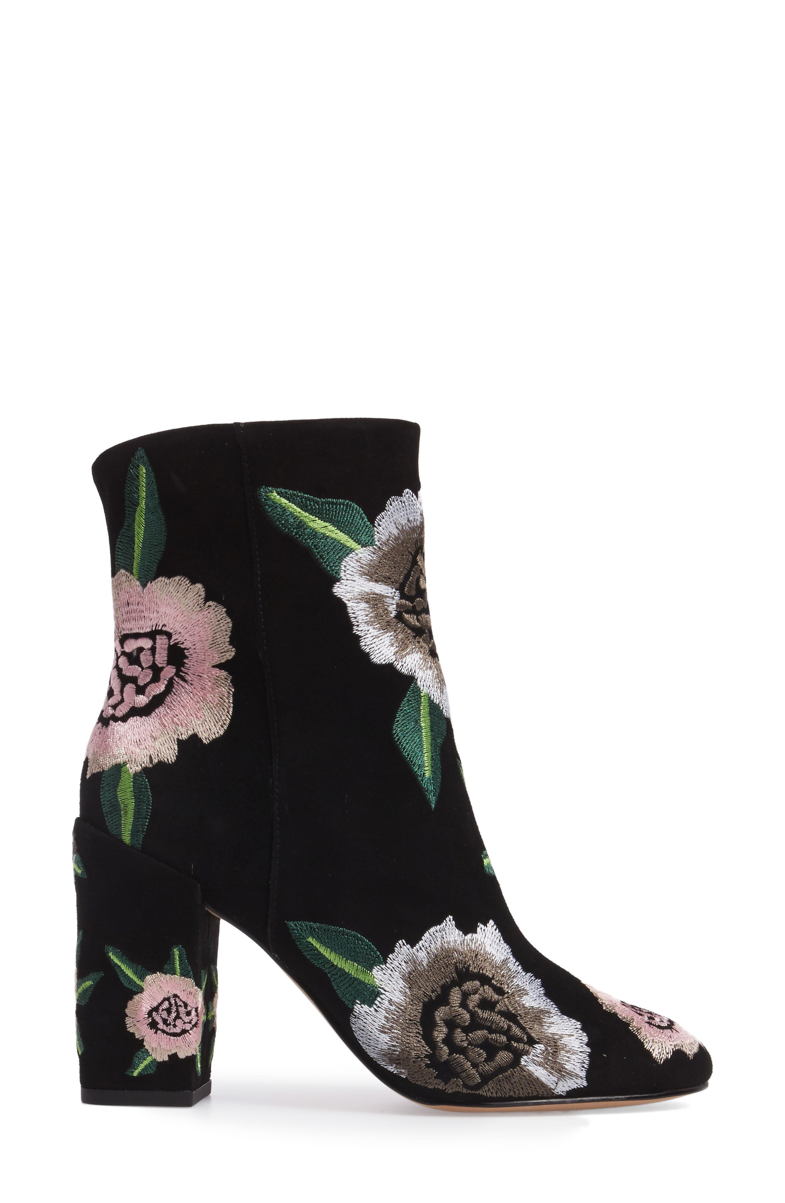 Bryce Flower Embroidered Bootie,                             Alternate thumbnail 3, color,                             Black Suede