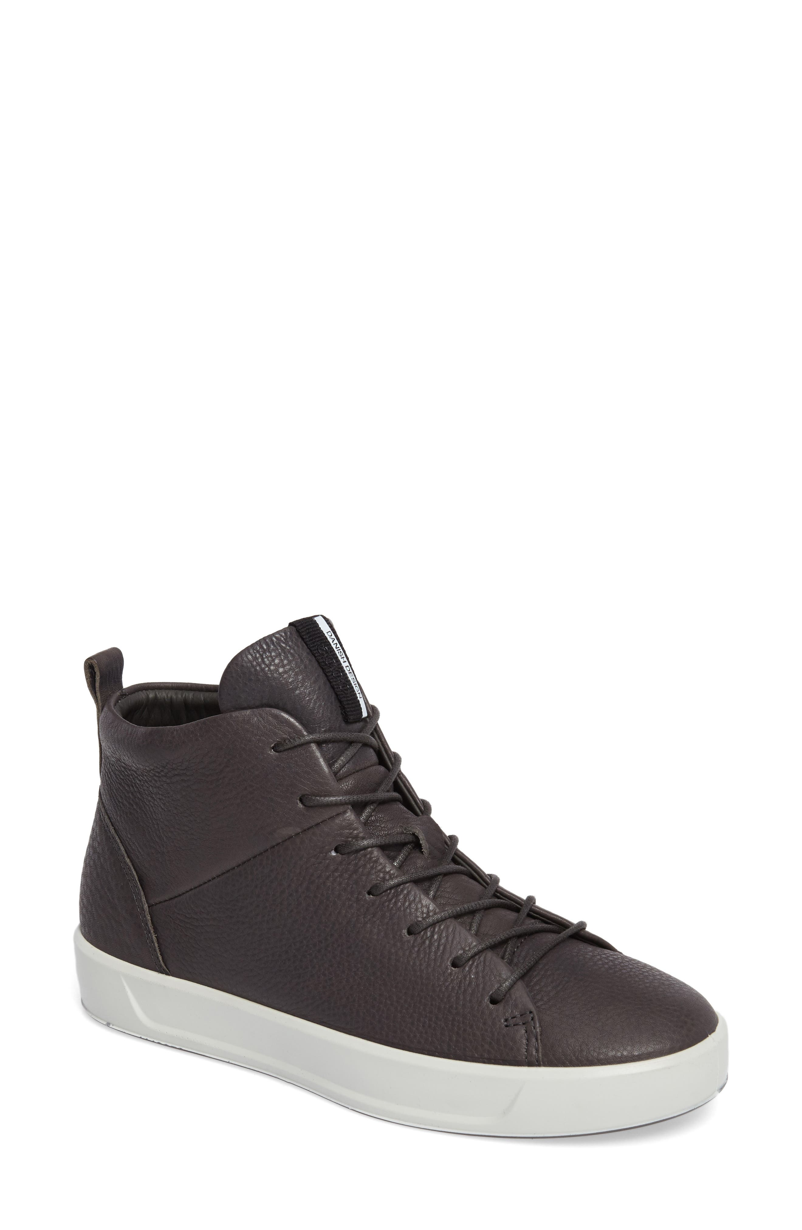 Soft 8 High Top Sneaker,                             Main thumbnail 1, color,                             Dark Shadow Leather