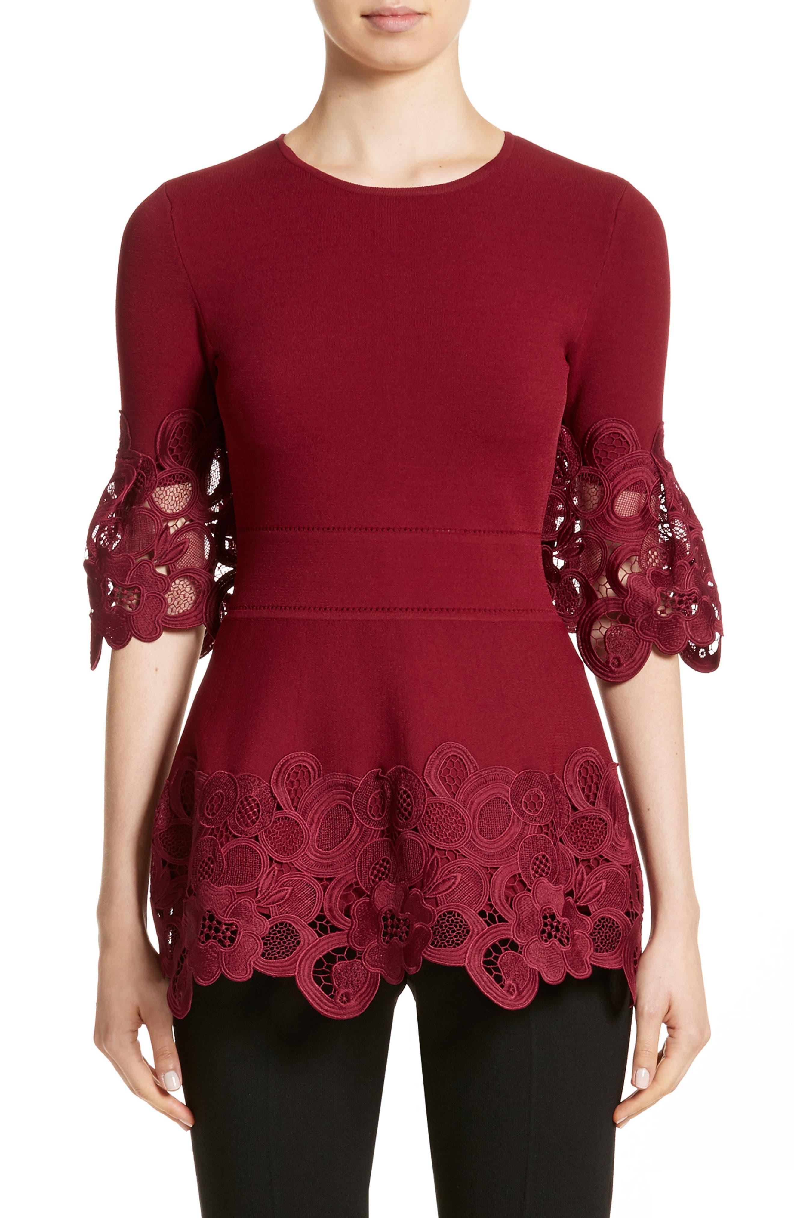 Lela Rose Lace Hem Knit Top