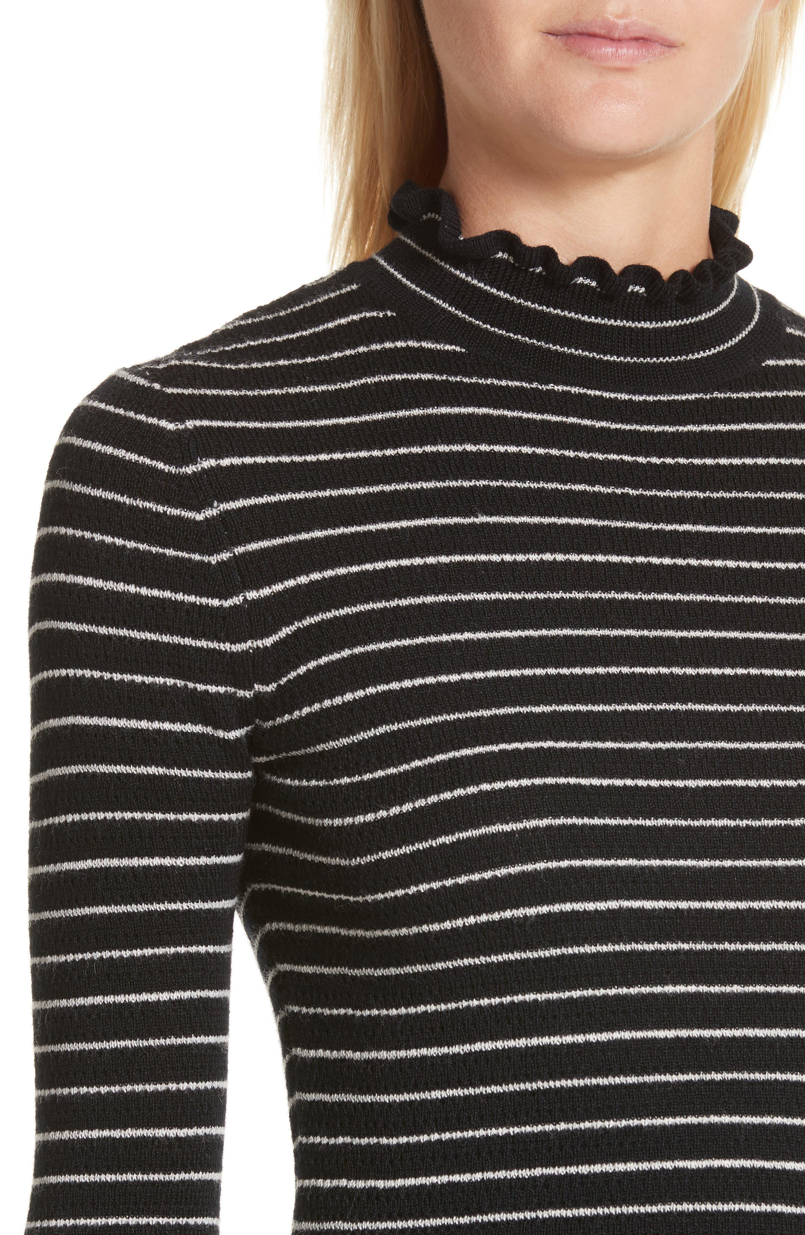 Merino Wool Pullover,                             Alternate thumbnail 4, color,                             Black Stripe