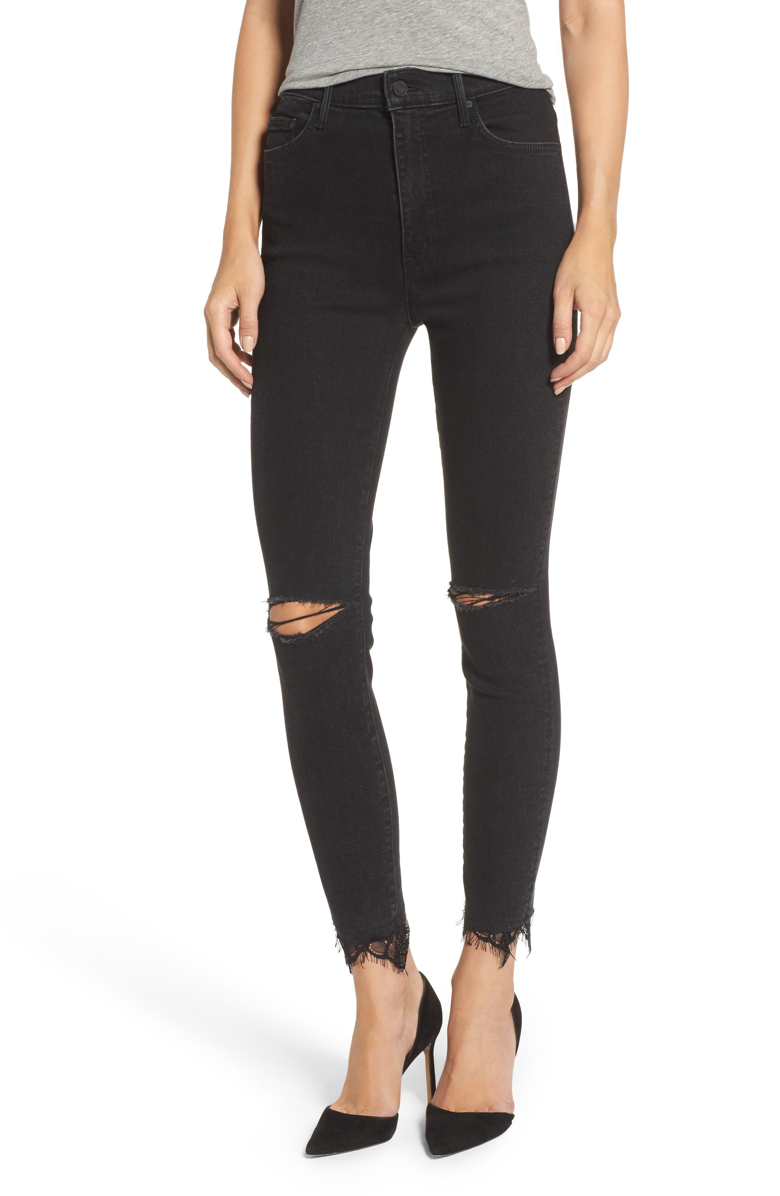 Swooner Dagger Ankle Skinny Jeans,                         Main,                         color, Baa Baa Black Sheep
