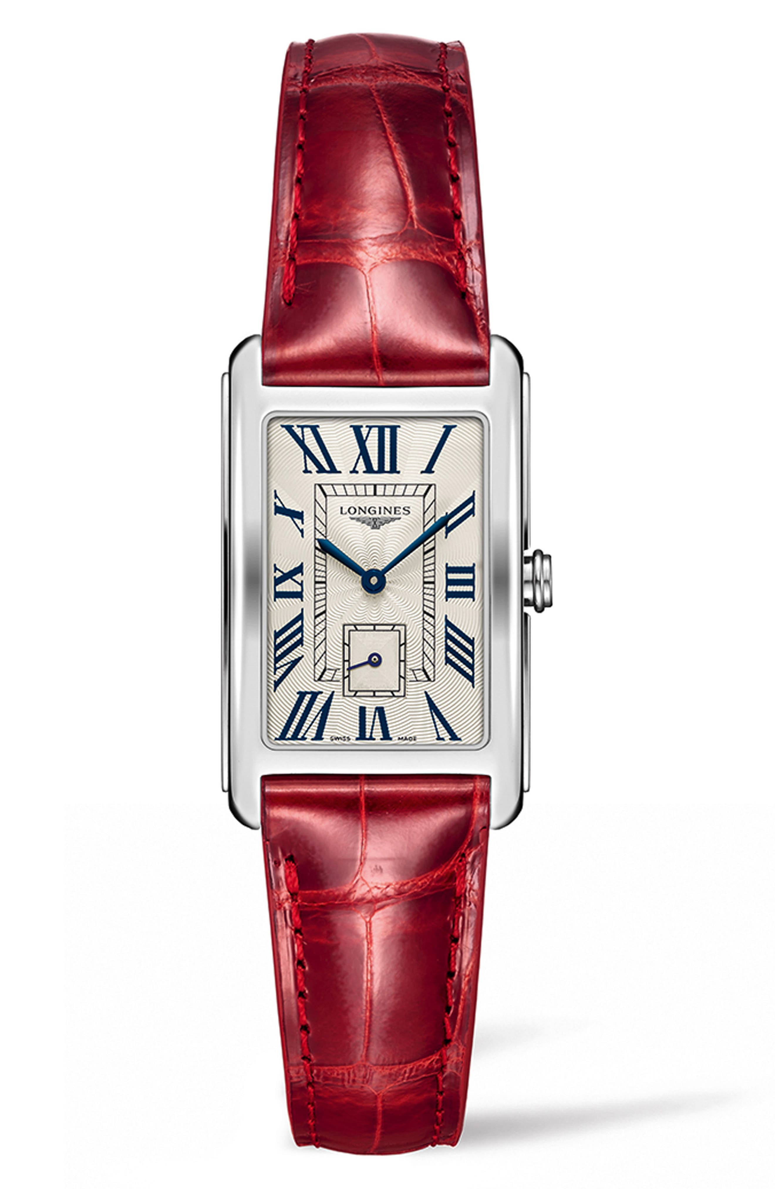 LONGINES Dolcevita Leather Strap Watch, 23Mm X 37Mm in Red/ Silver
