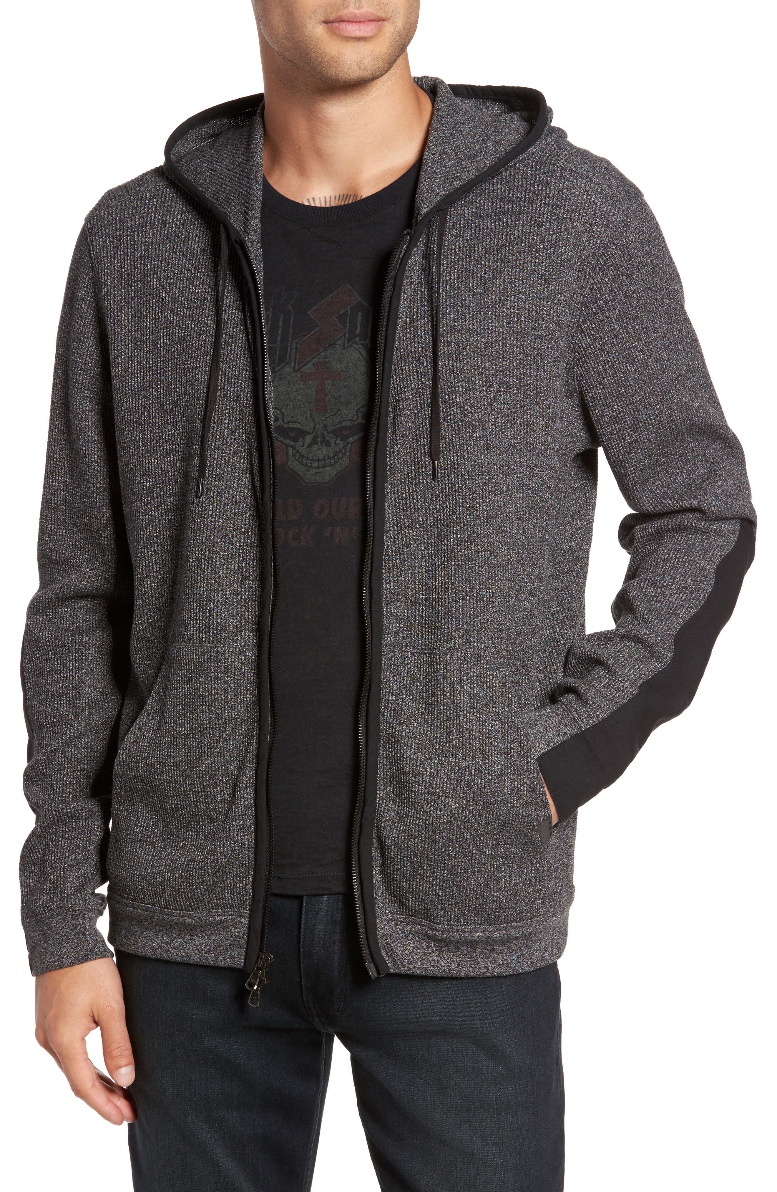 John Varvatos Contrast Trim Zip Front Hoodie