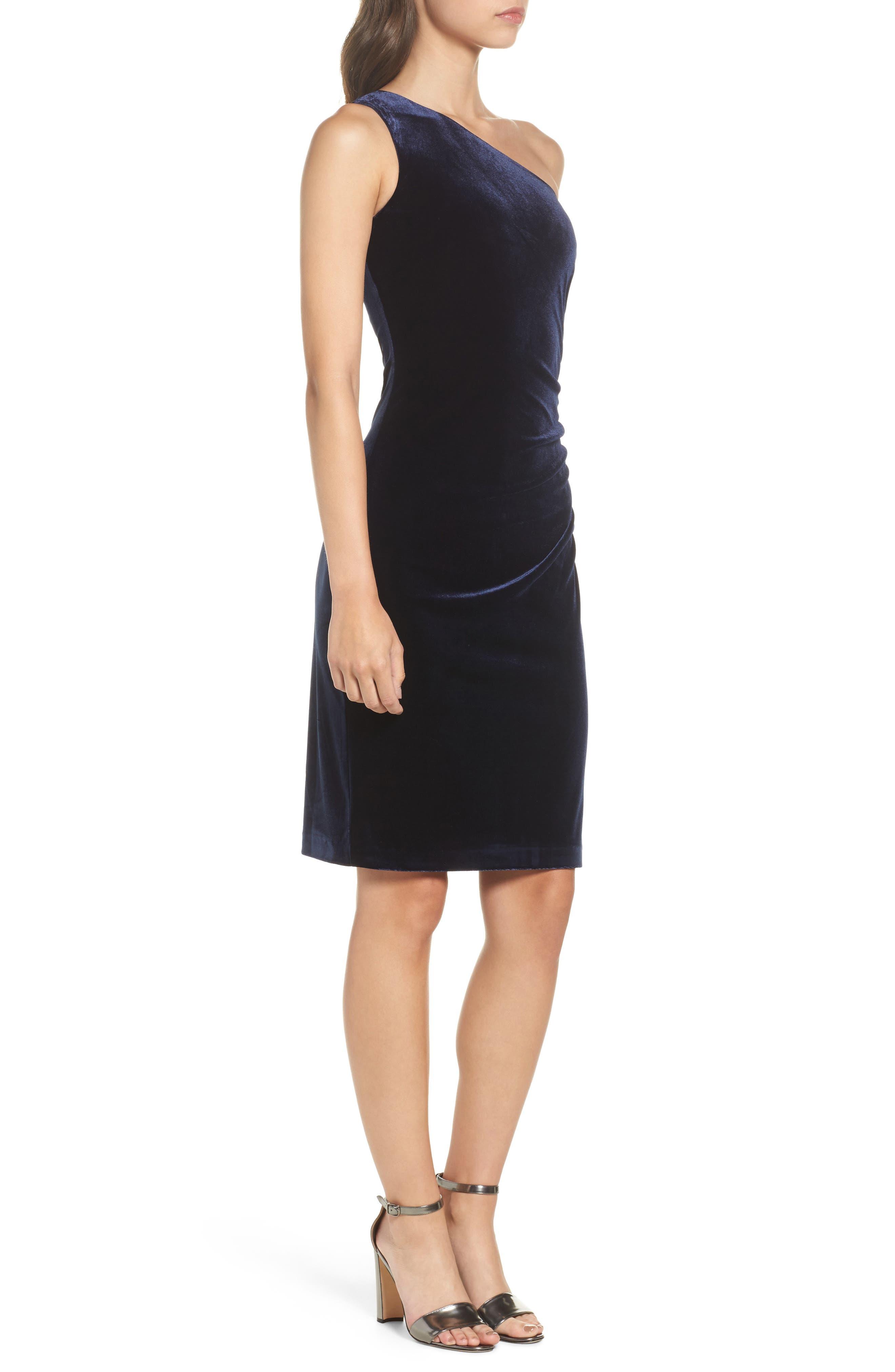 One-Shoulder Velvet Dress,                             Alternate thumbnail 3, color,                             Navy