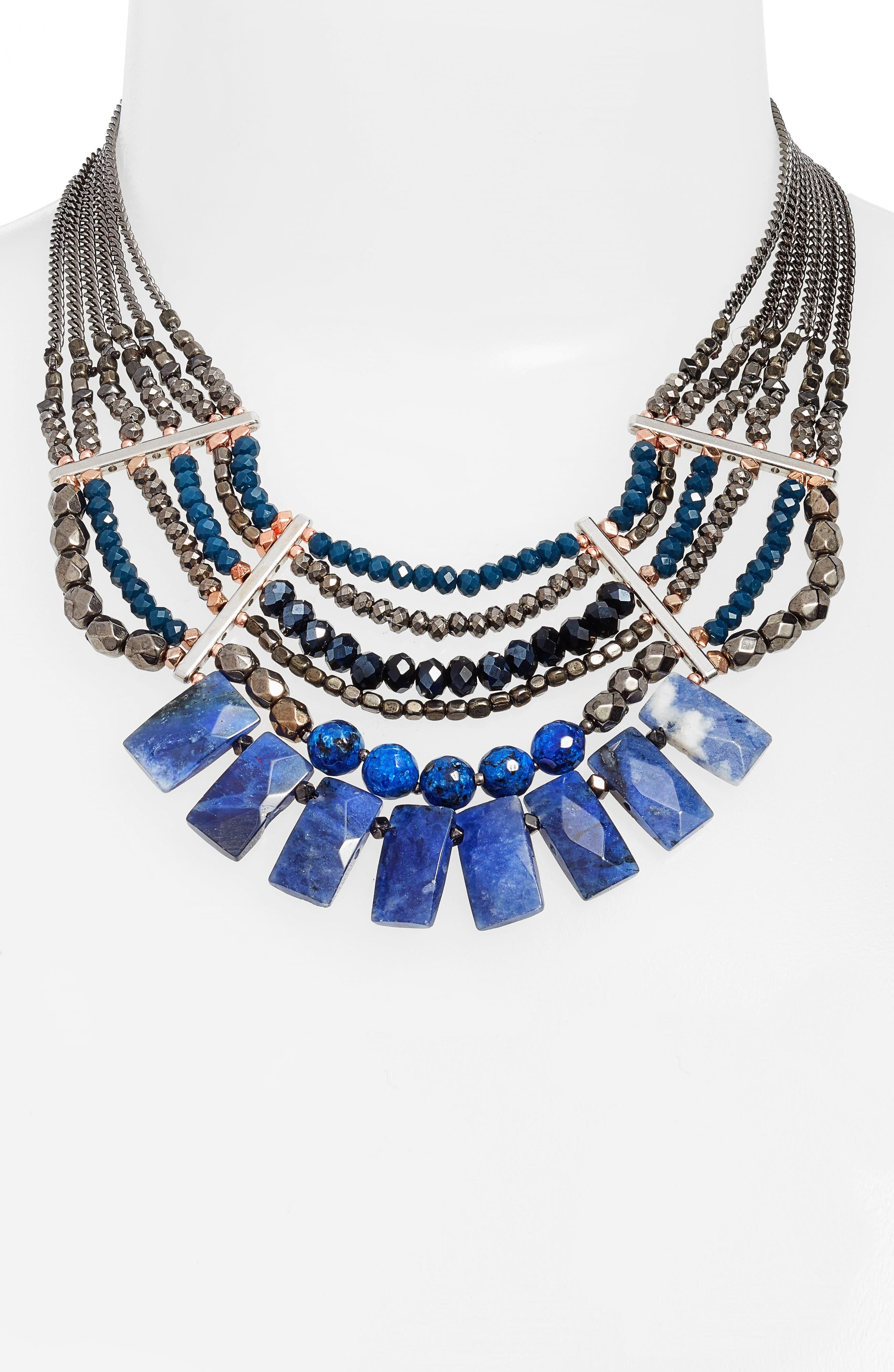Semiprecious Stone Beaded Fringe Collar Necklace,                         Main,                         color, Blue