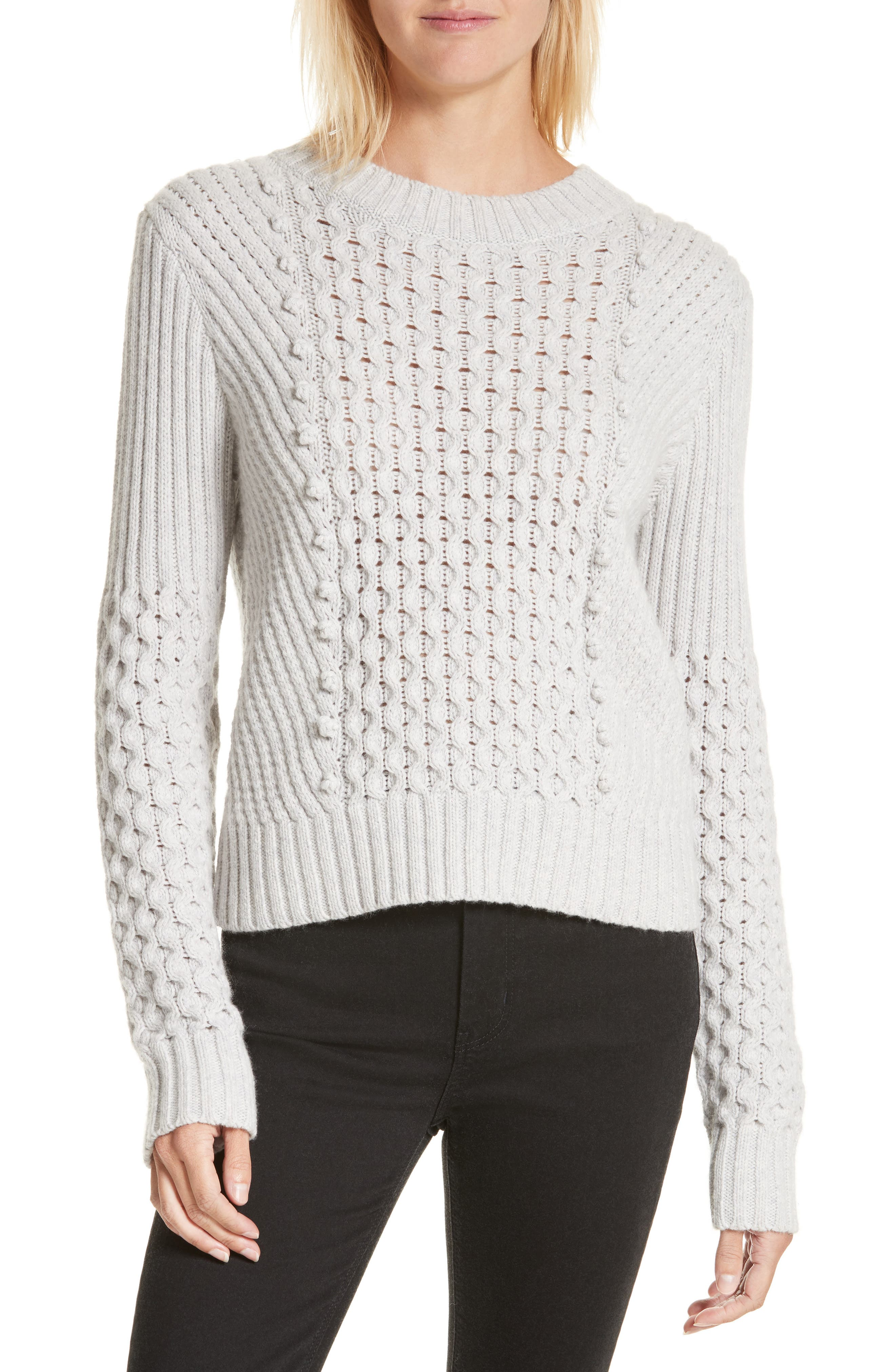 Honeycomb Stitch Sweater,                             Main thumbnail 1, color,                             Light Grey Heather