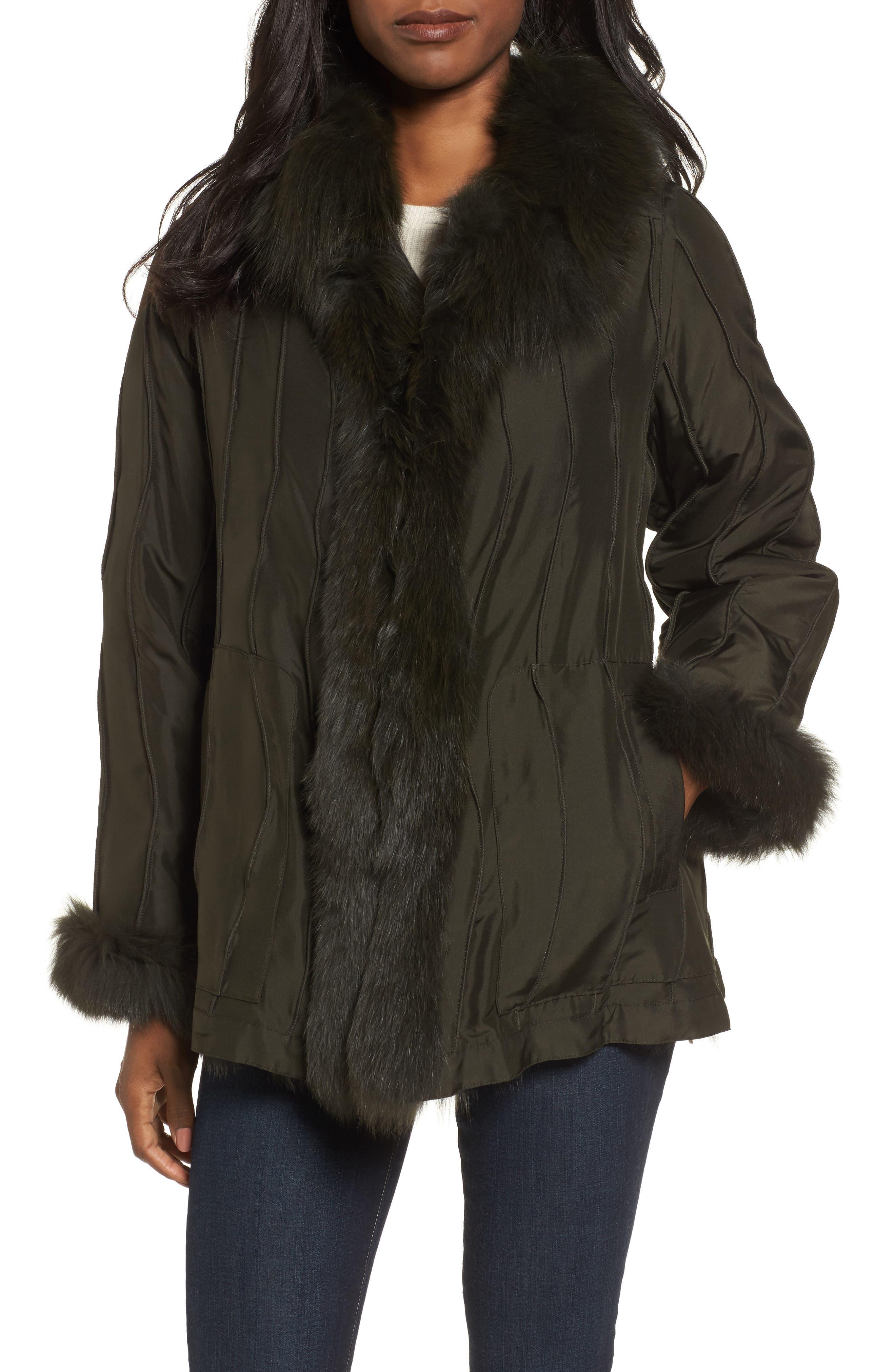 GeorgeSimonton Reversible Silk & Genuine Fox Fur Topper,                         Main,                         color, Olive