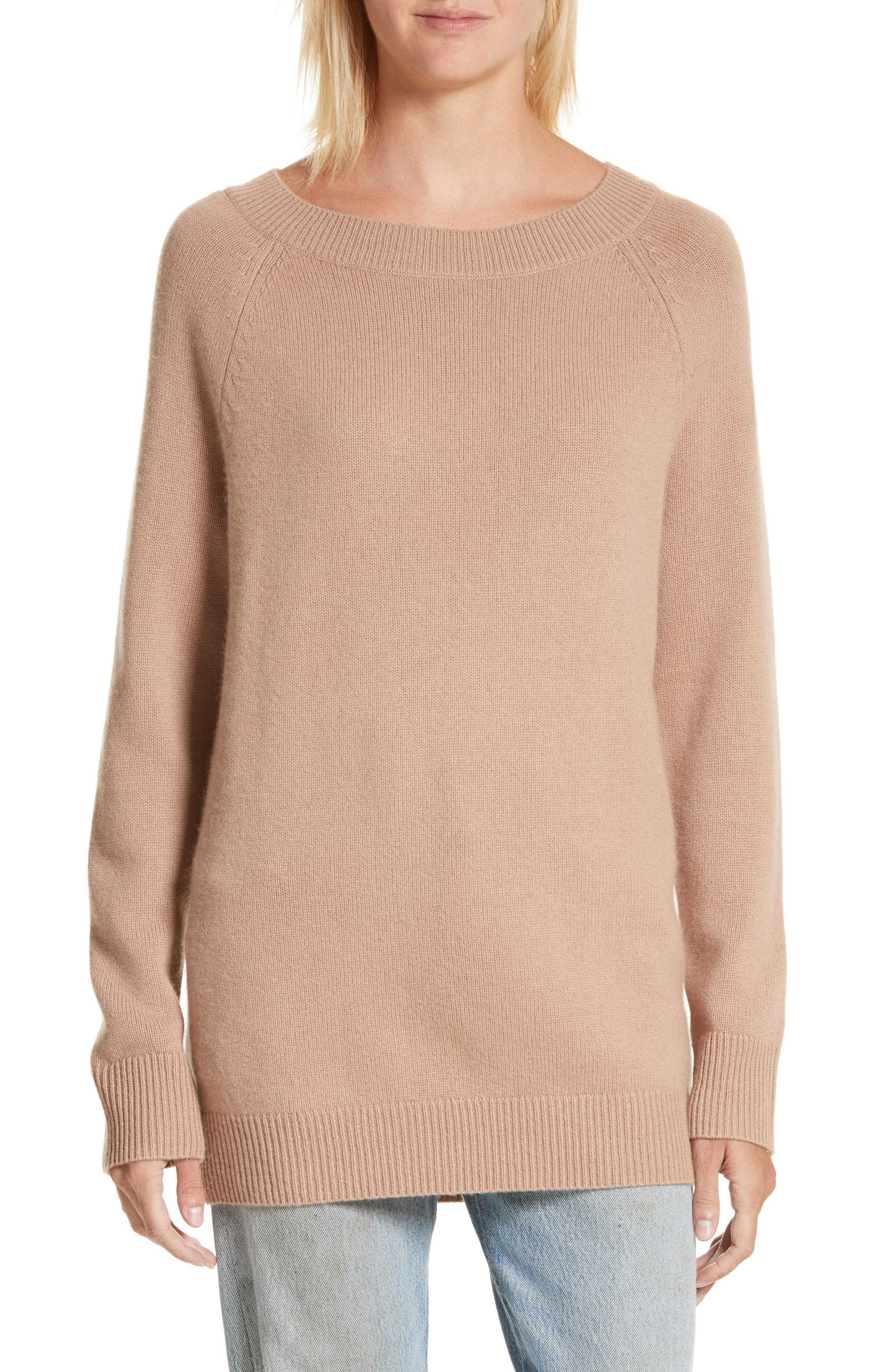 Cody Wool & Cashmere Boatneck Sweater,                             Main thumbnail 1, color,                             Camel