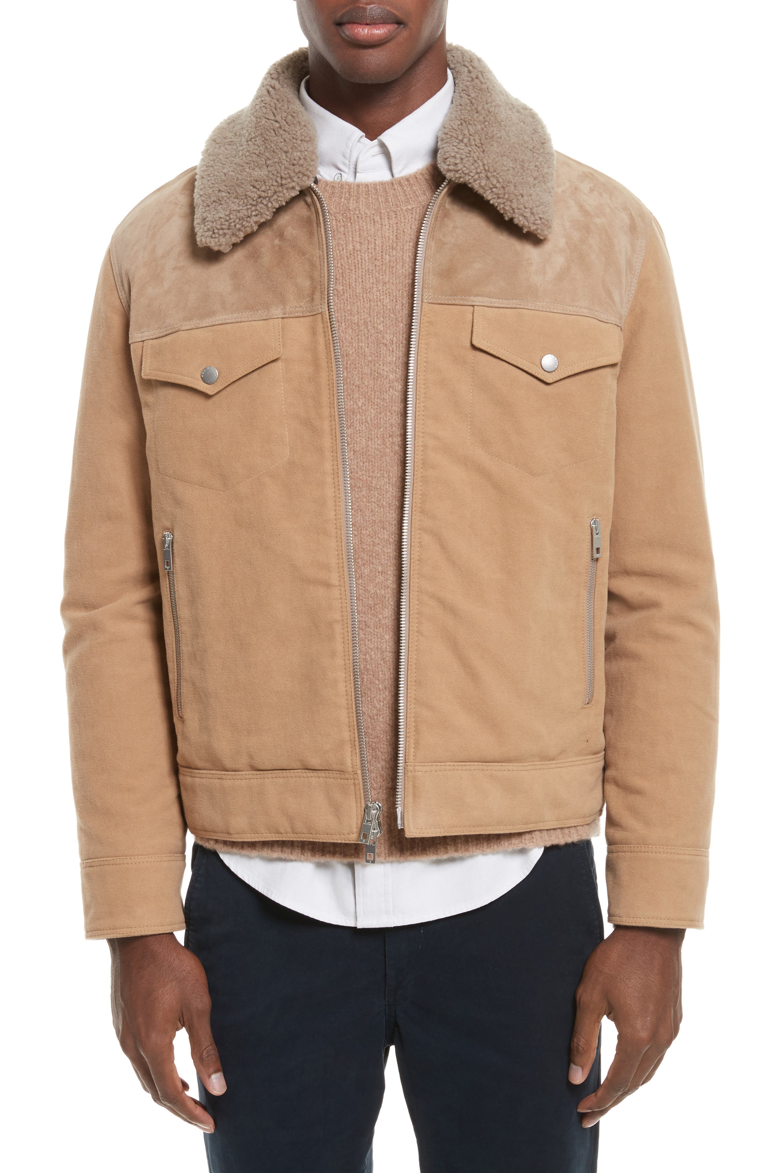 Matthew Work Jacket with Genuine Shearling Collar,                             Main thumbnail 1, color,                             Camel