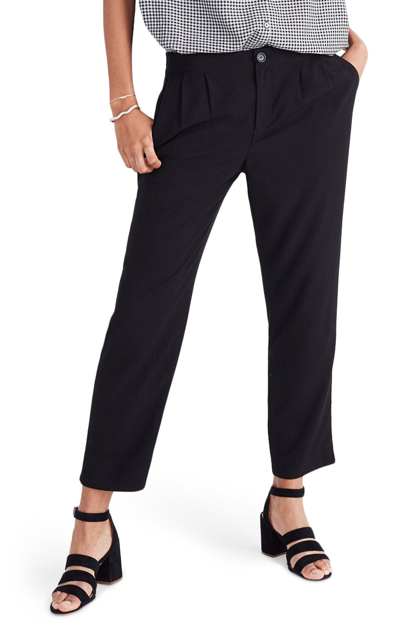 High Waist Crop Track Trousers,                         Main,                         color, True Black