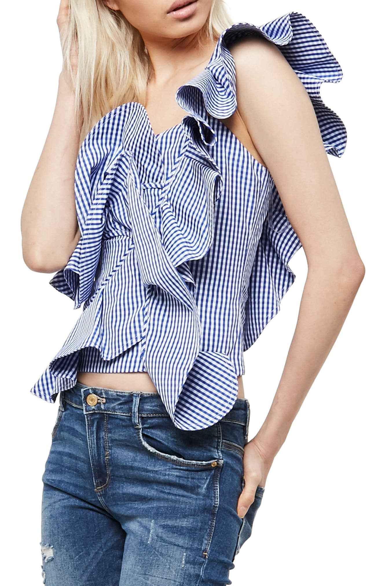 Alpha & Omega Gingham One-Shoulder Blouse,                             Alternate thumbnail 3, color,                             Royal