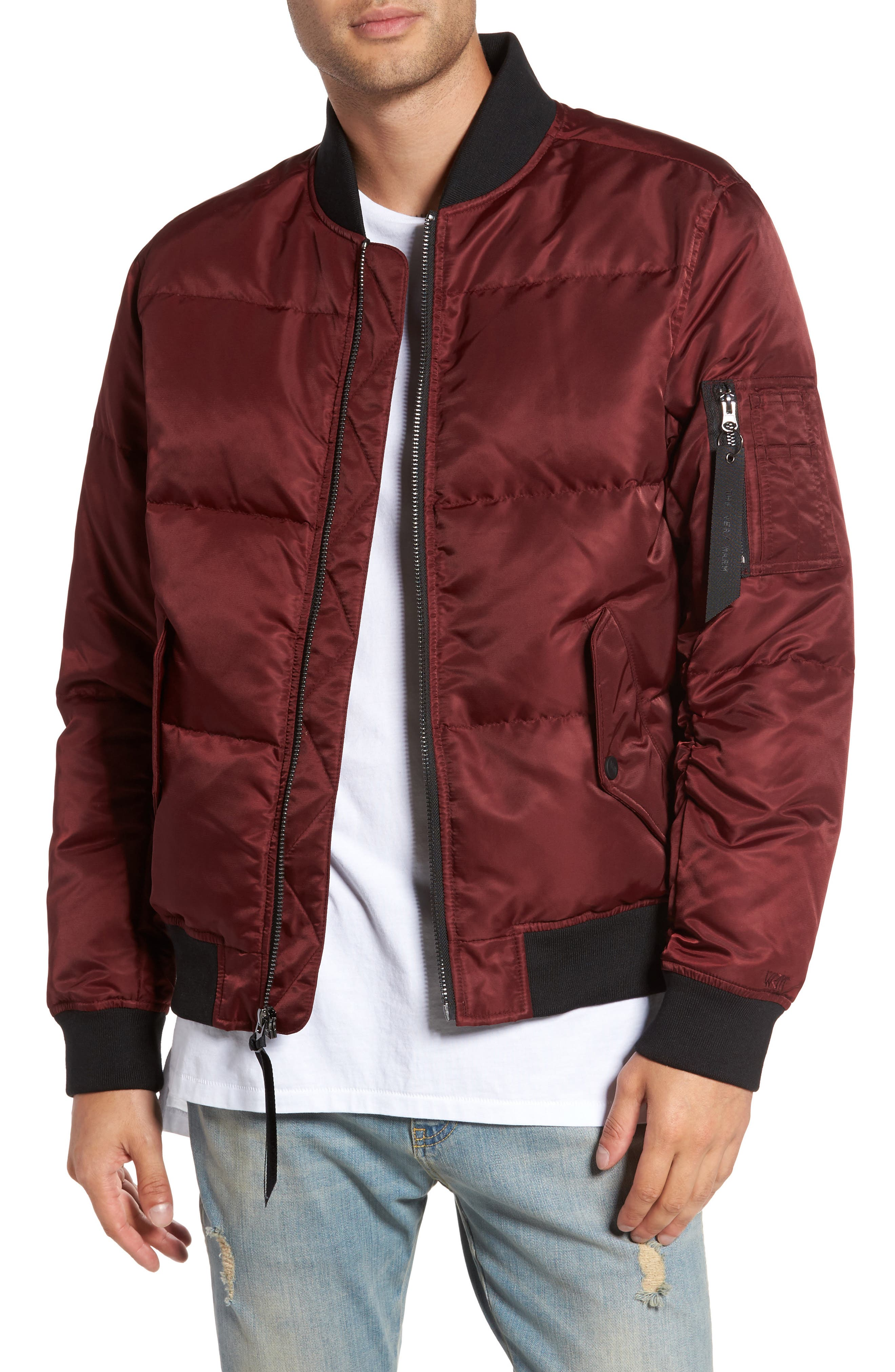 Quilted Down Bomber Jacket,                         Main,                         color, Burgundy