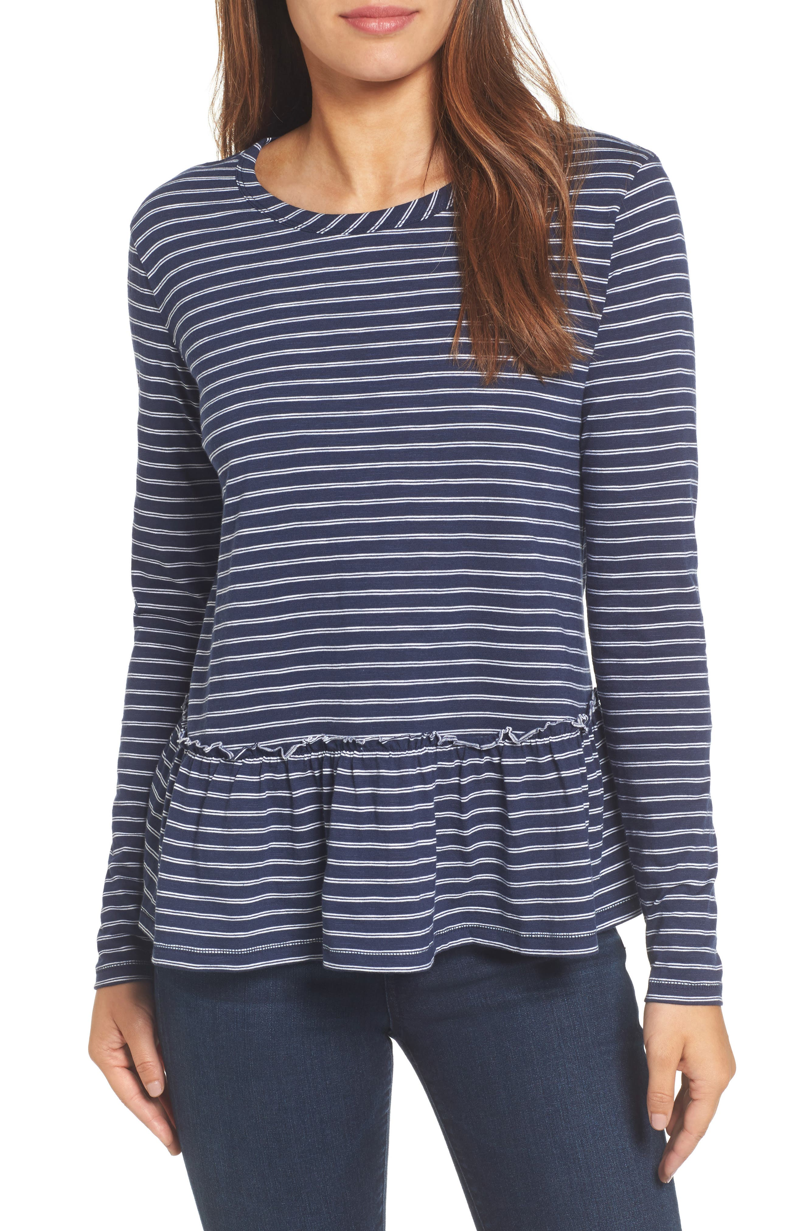 Peplum Tee,                         Main,                         color, Navy- White Double Stripe