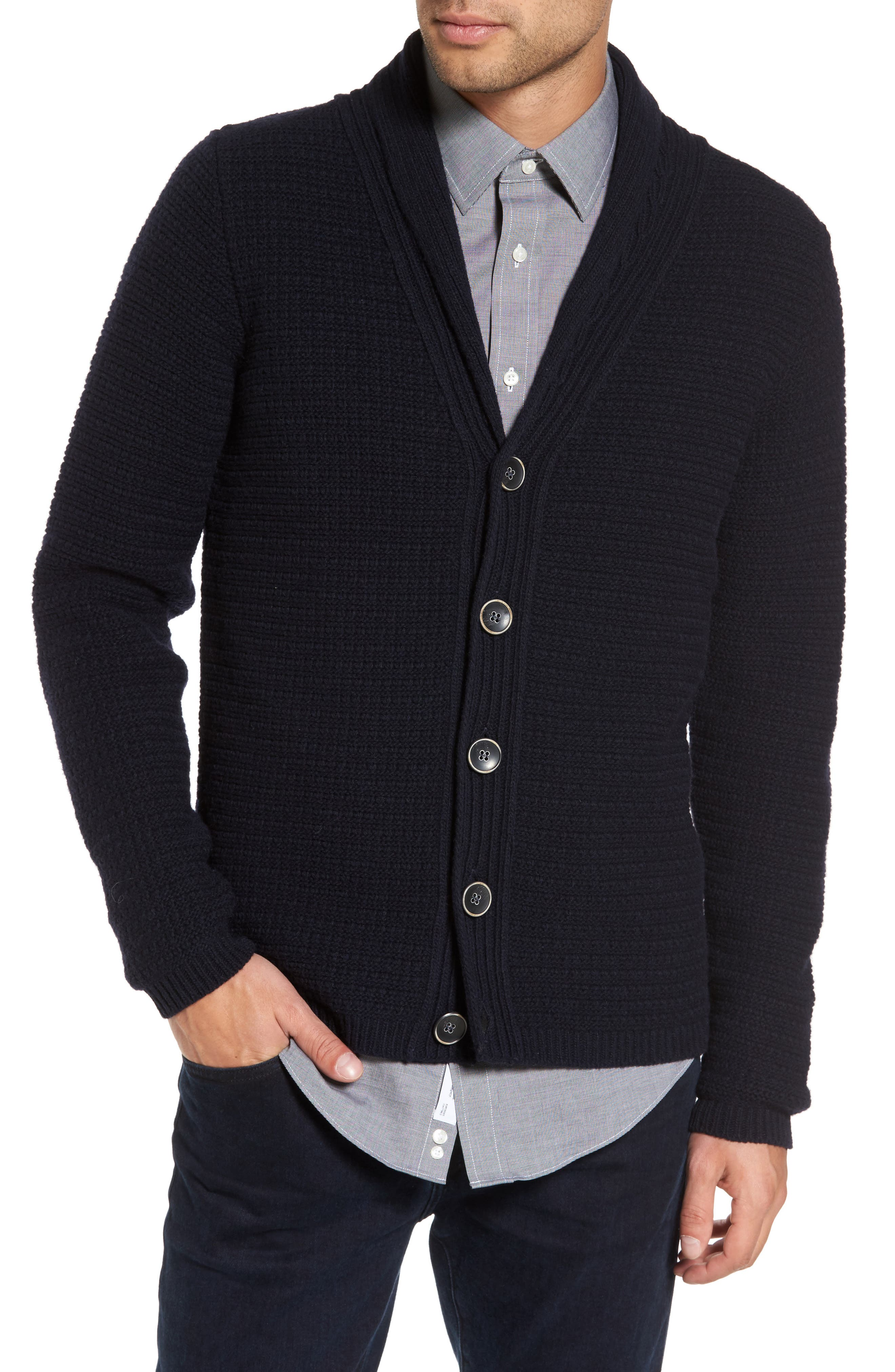 Sand Shawl Collar Button Cardigan