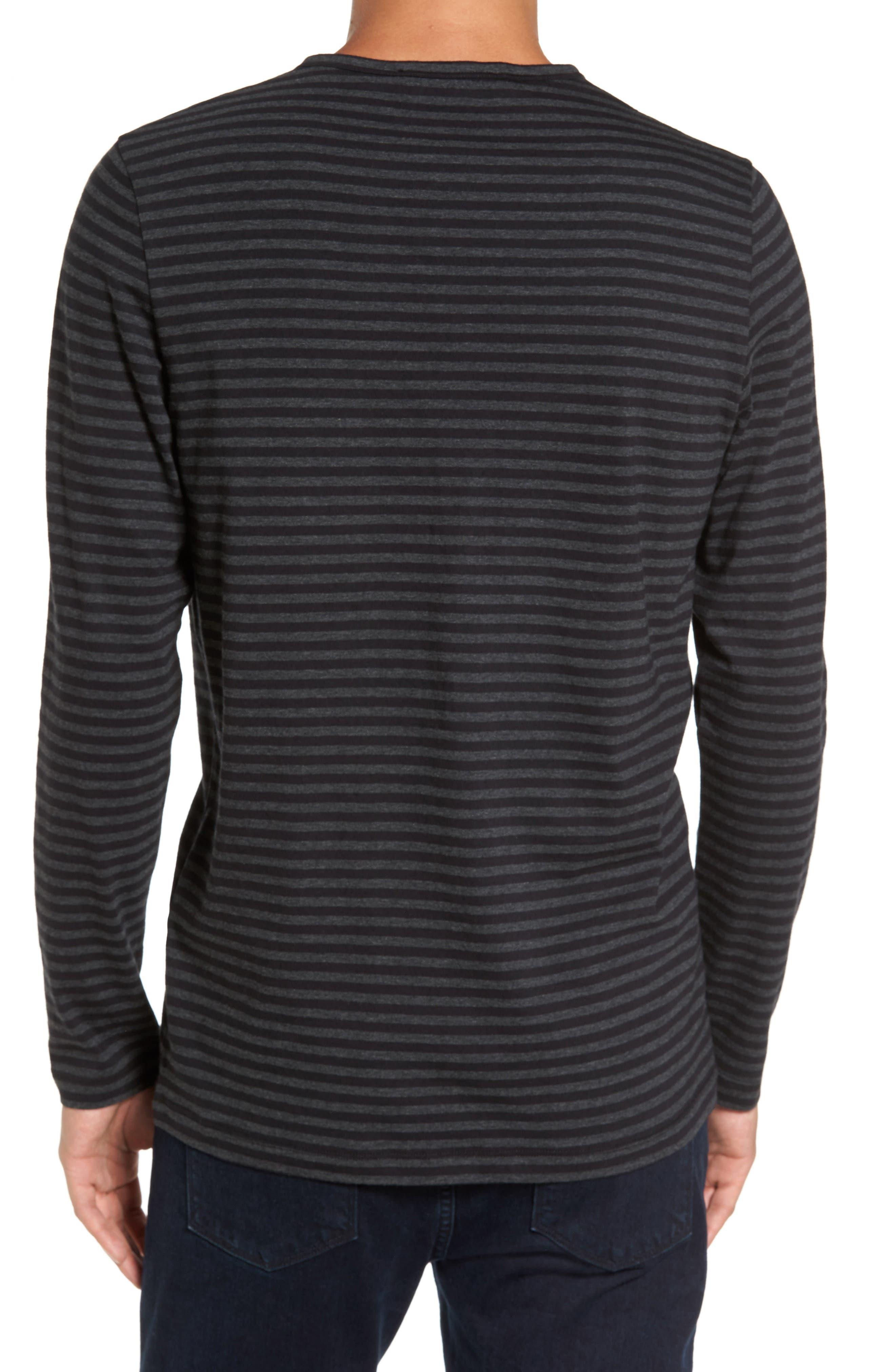 Long Sleeve Henley T-Shirt,                             Alternate thumbnail 2, color,                             Black/ Charcoal Stripe