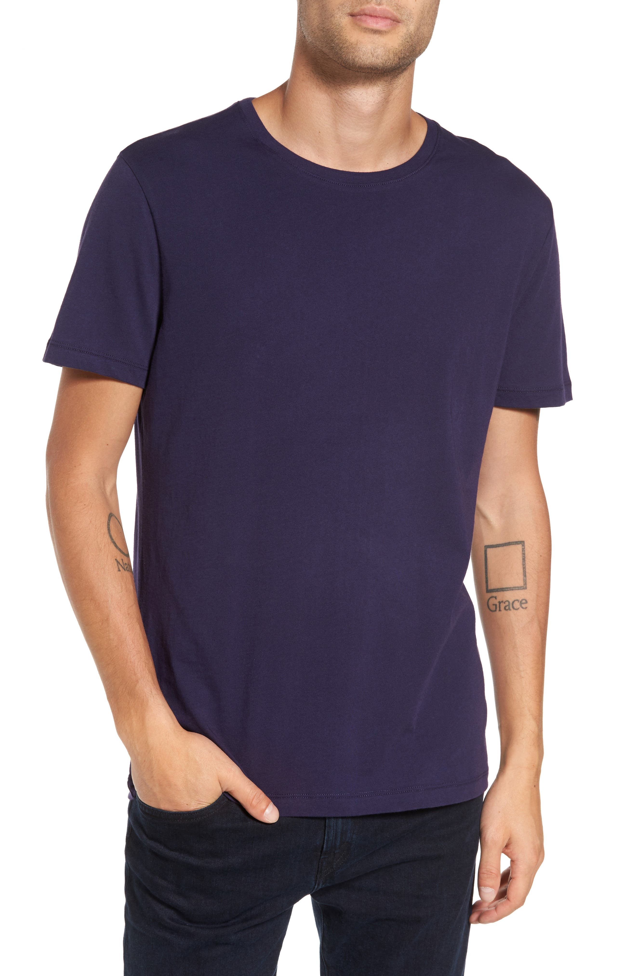 Solid T-Shirt,                         Main,                         color, Royal Blue