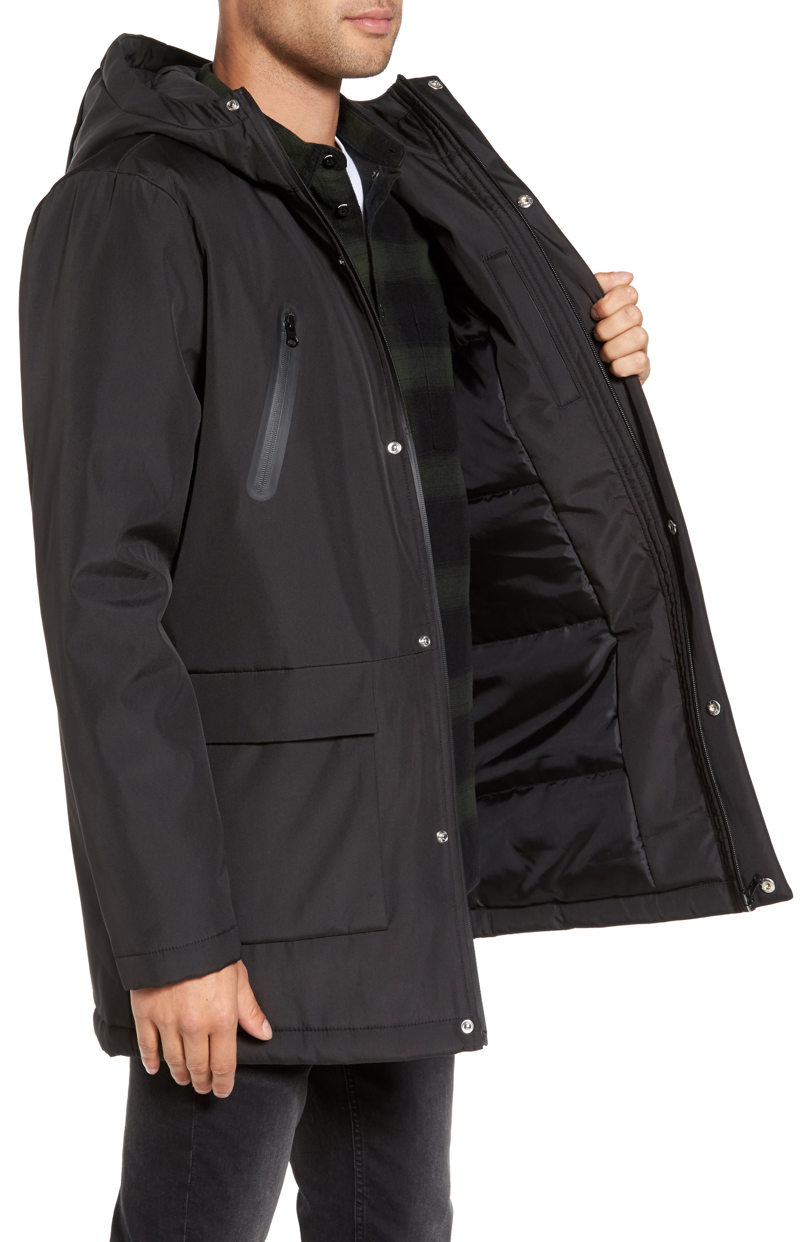Cedric Weatherproof Jacket,                             Alternate thumbnail 3, color,                             Black
