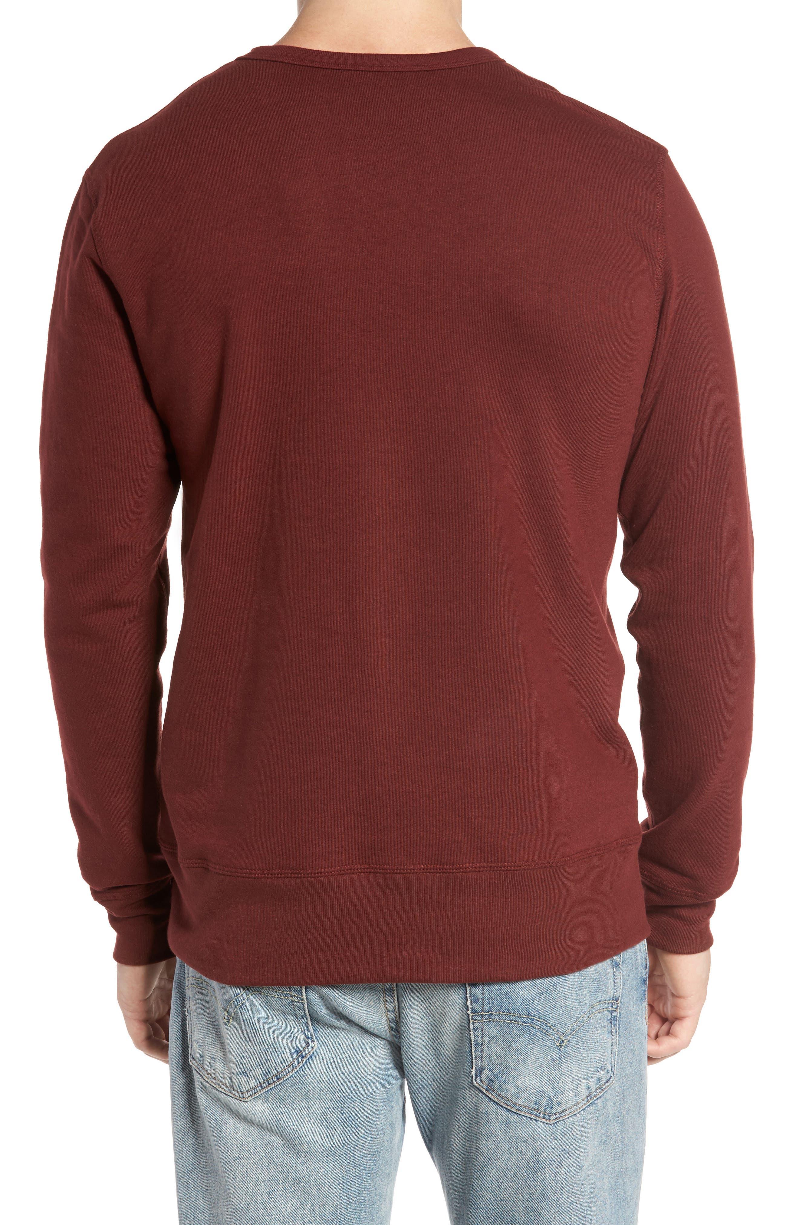 B-Side Reversible Crewneck Sweatshirt,                             Alternate thumbnail 2, color,                             Maroon