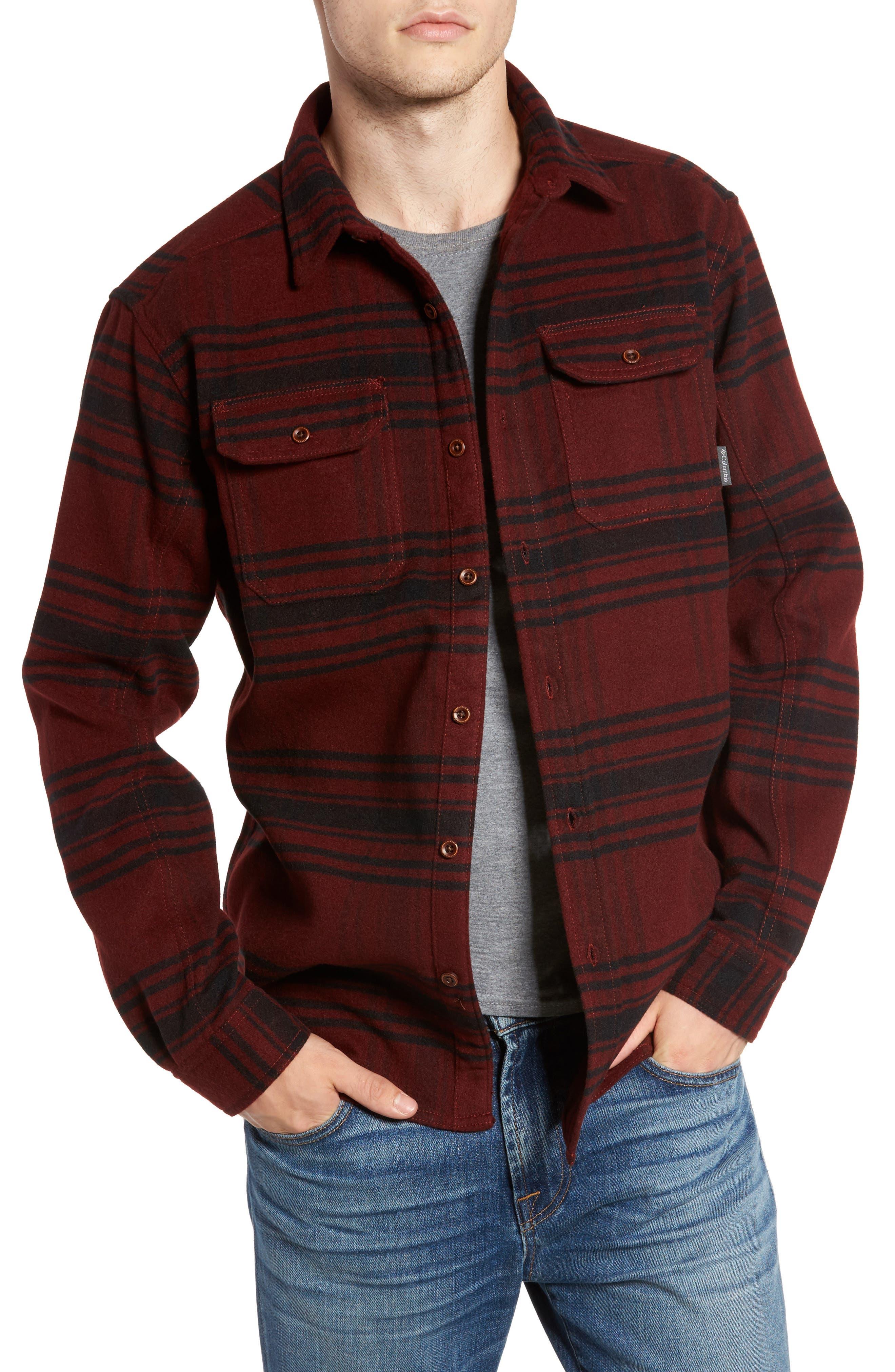 Deschutes River<sup>™</sup> Heavyweight Flannel Shirt Jacket,                         Main,                         color, Deep Rust Plaid