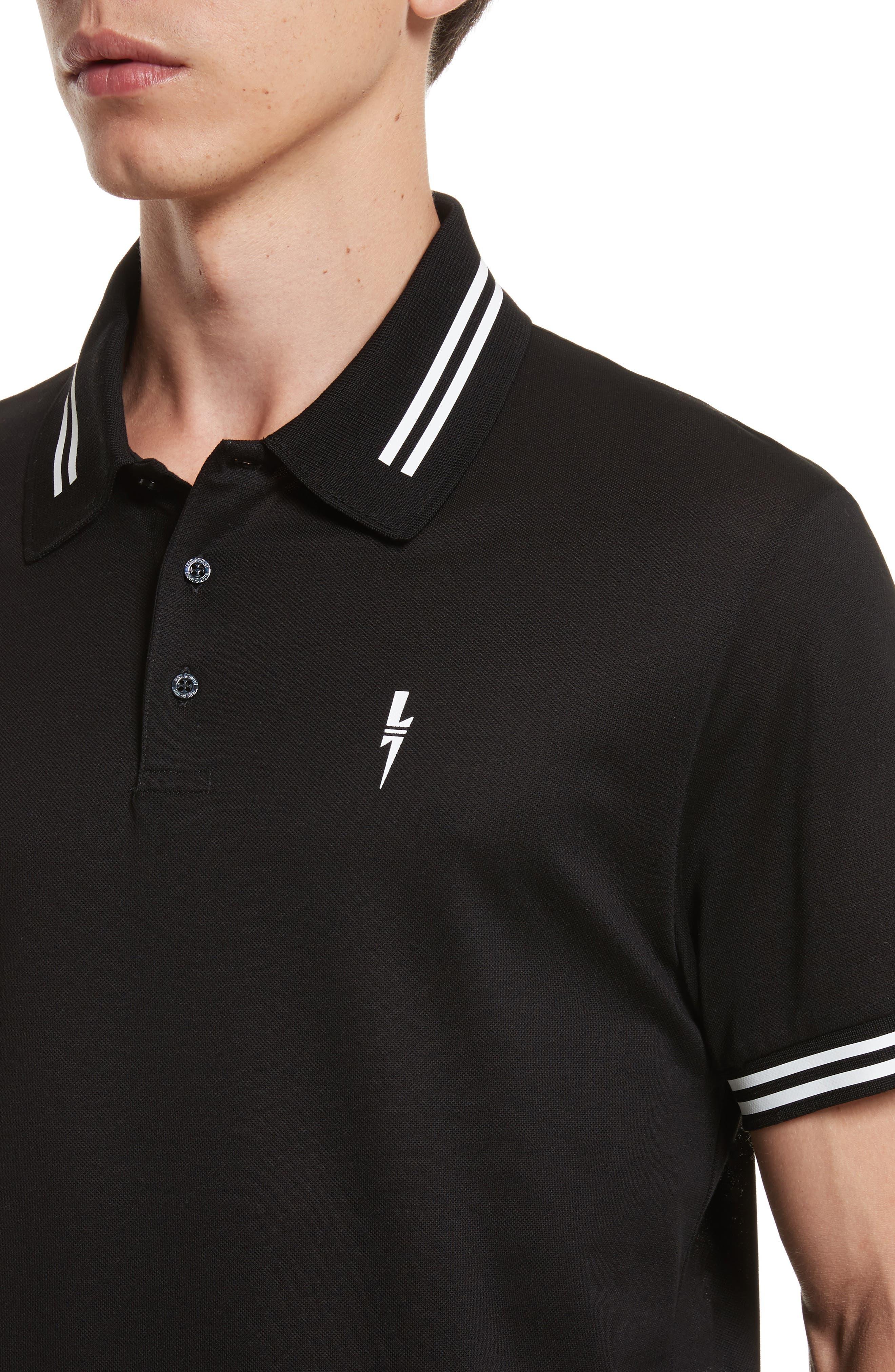 Stripe Tipped Polo,                             Alternate thumbnail 4, color,                             Black/ White