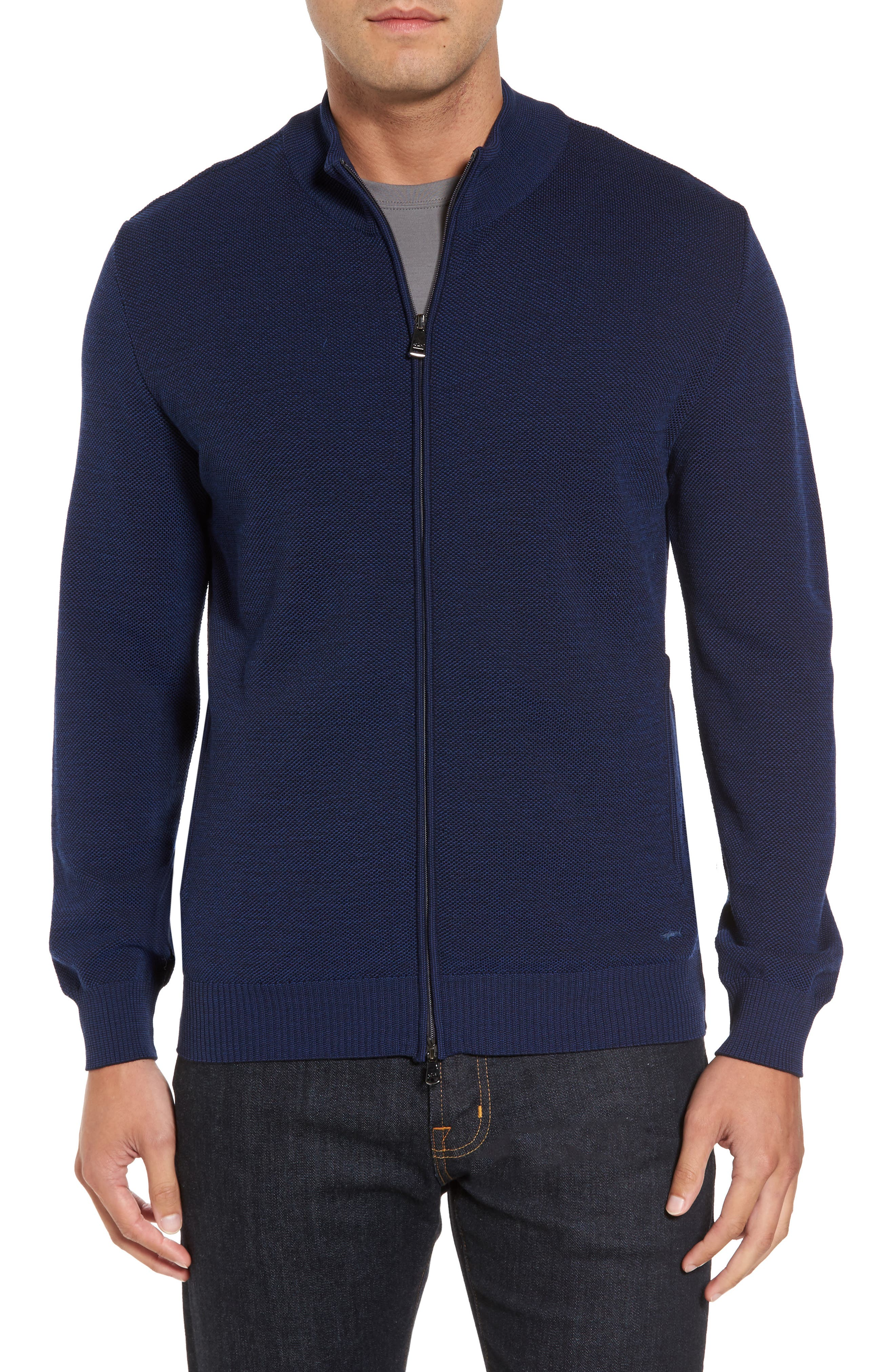 Paul&Shark Piqué Zip Wool Sweater,                         Main,                         color, Blue