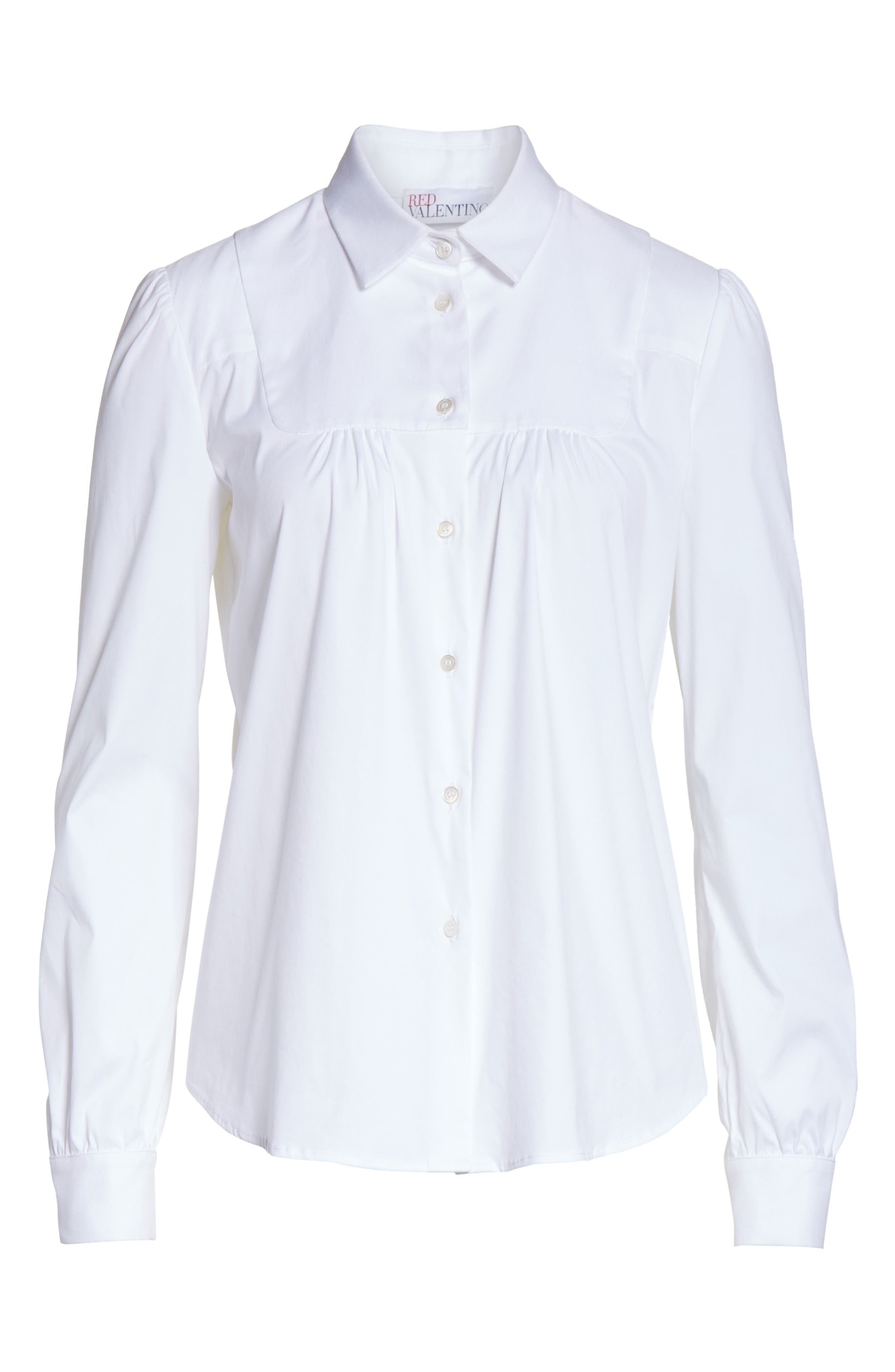 Stretch Poplin & Oxford Shirt,                             Alternate thumbnail 6, color,                             Bianco