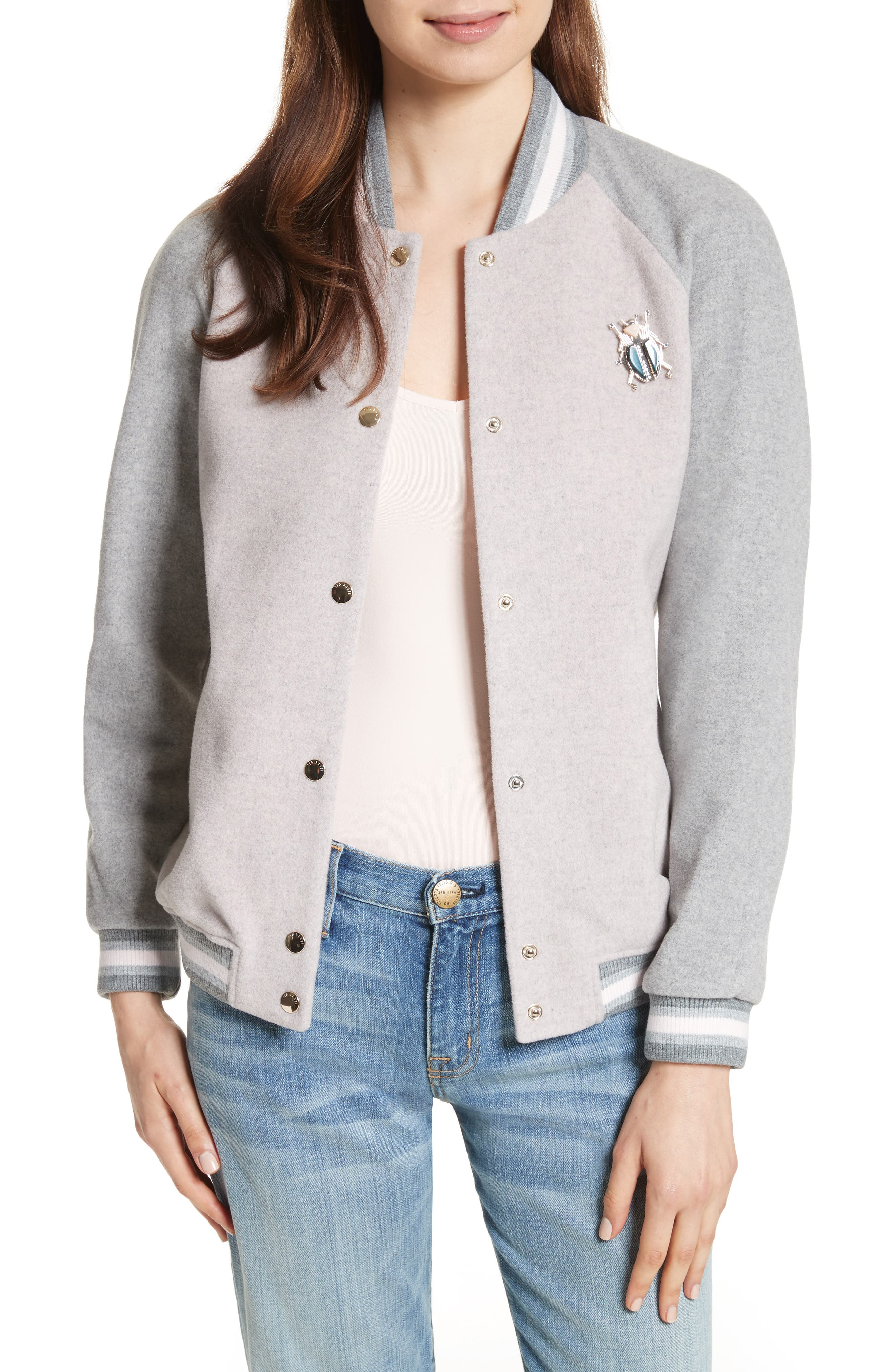Augusta Embellished Bomber Jacket,                         Main,                         color, Dusky Pink