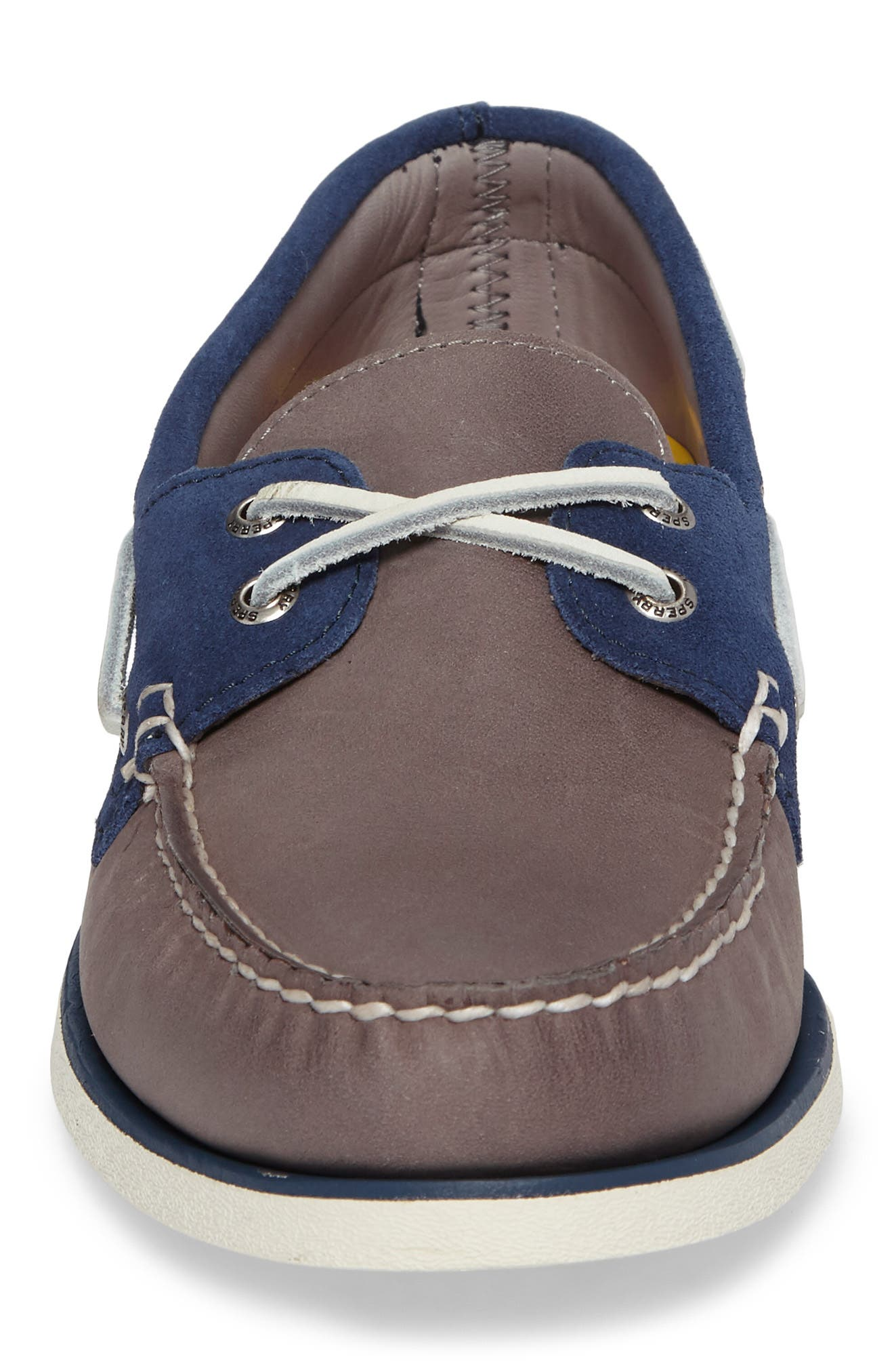 Gold Cup Authentic Original Boat Shoe,                             Alternate thumbnail 4, color,                             Grey/ Blue Leather
