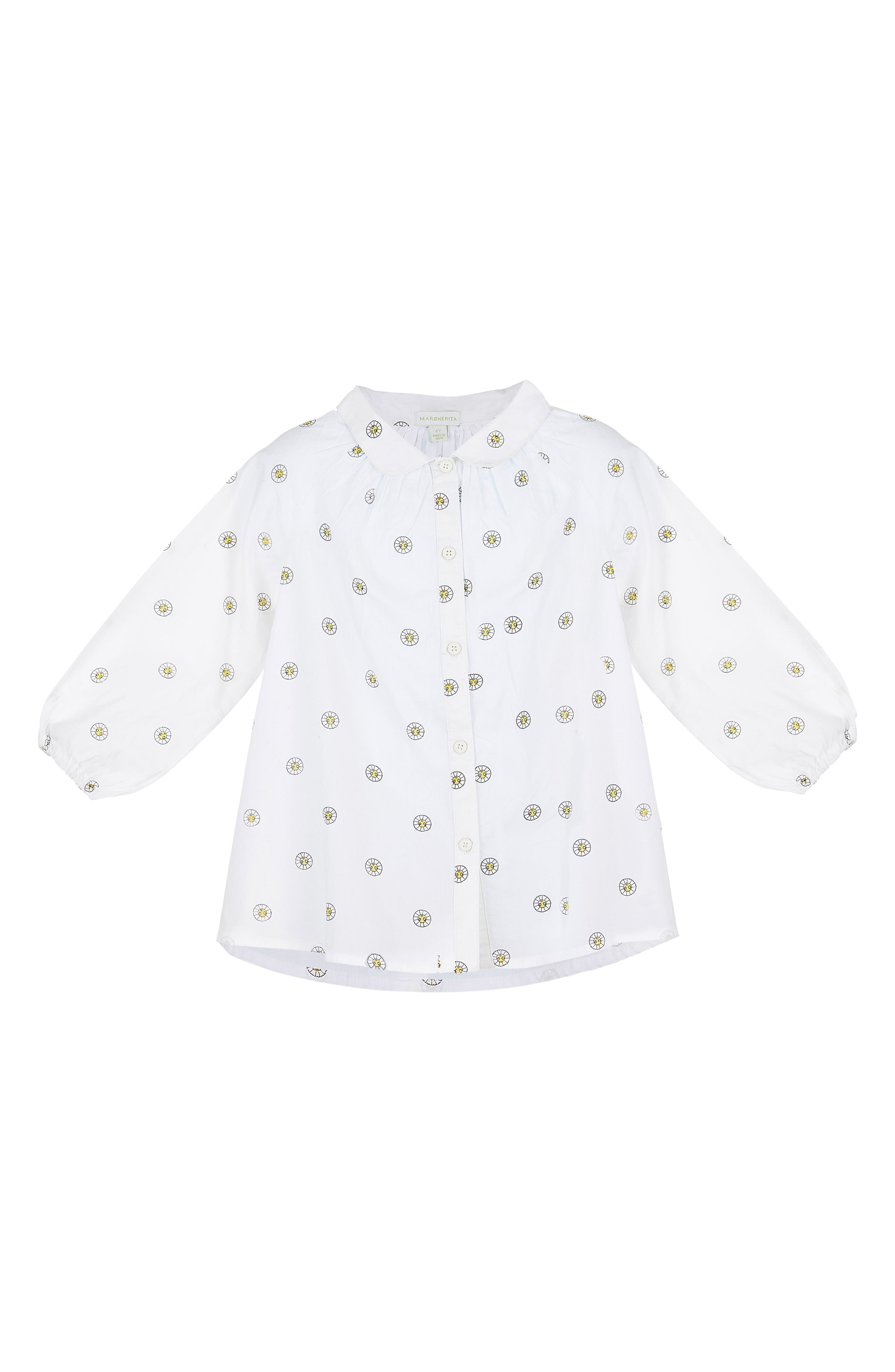 Alternate Image 1 Selected - Margherita Printed Daisy Blouse (Baby Girls)