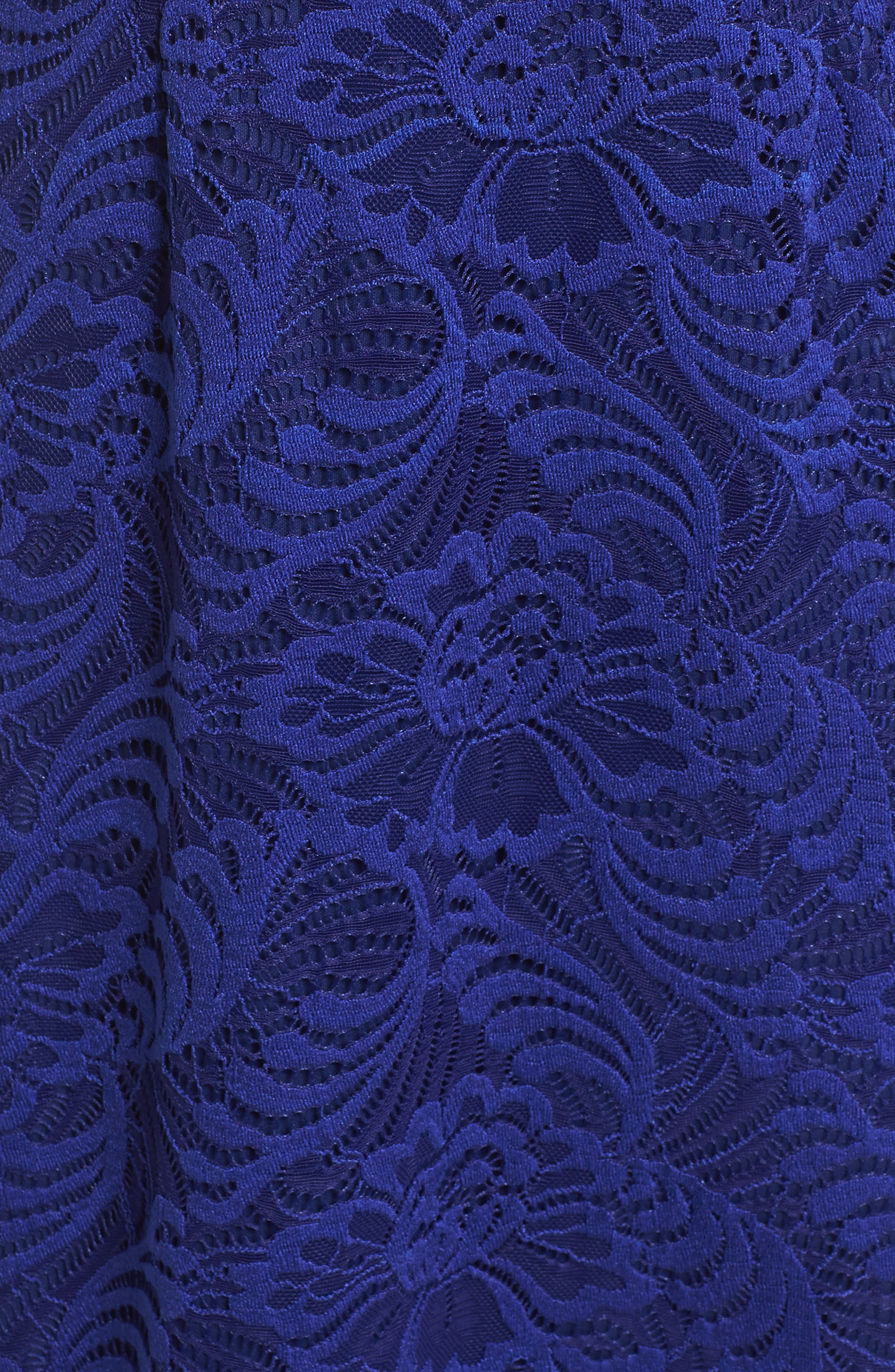 Shirred Stretch Lace Gown,                             Alternate thumbnail 5, color,                             Neptune