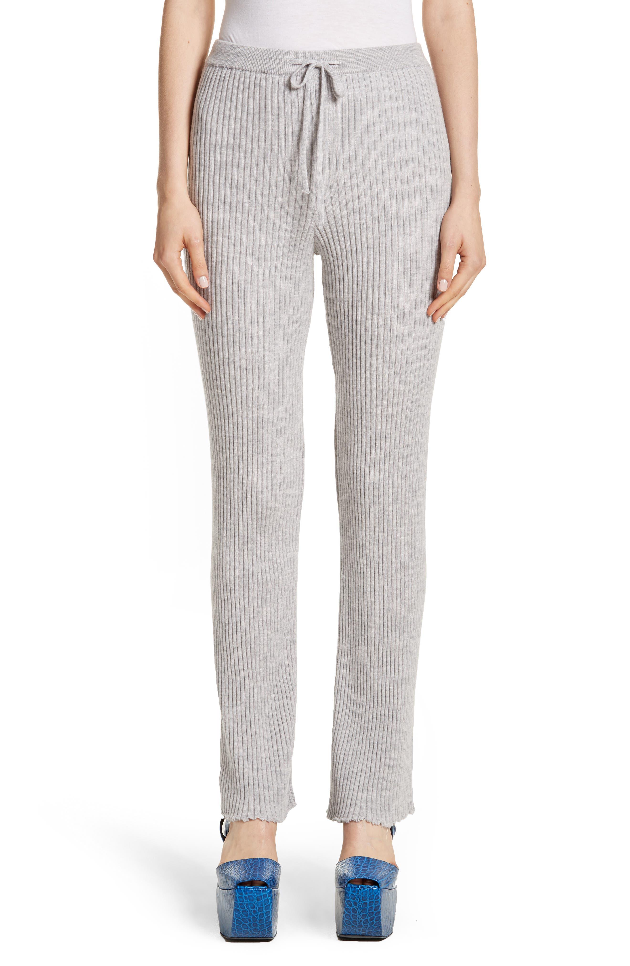 Marques'Almeida Ribbed Drawstring Sweatpants,                         Main,                         color, Grey