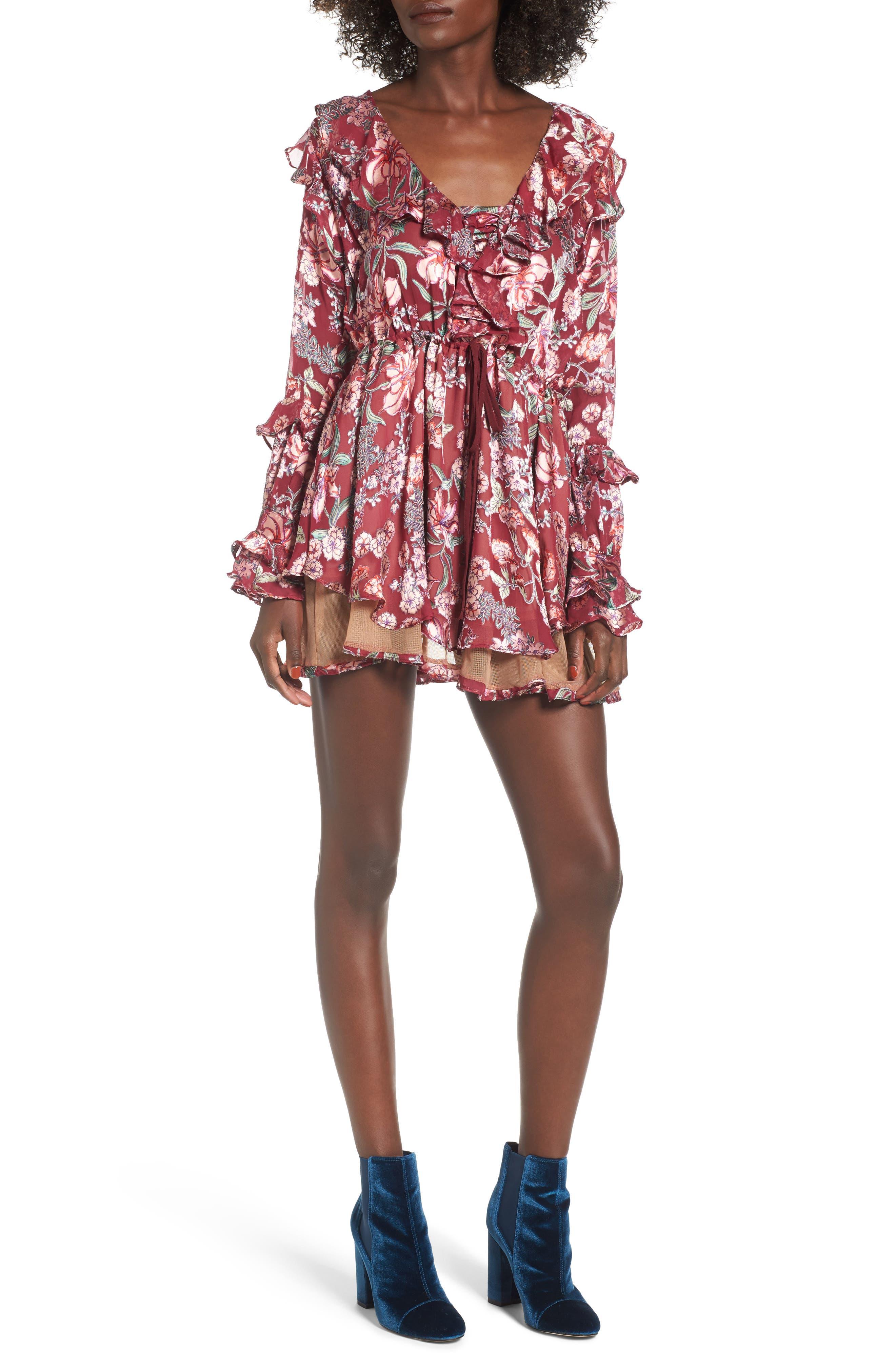 Flora Minidress,                         Main,                         color, Berry Floral