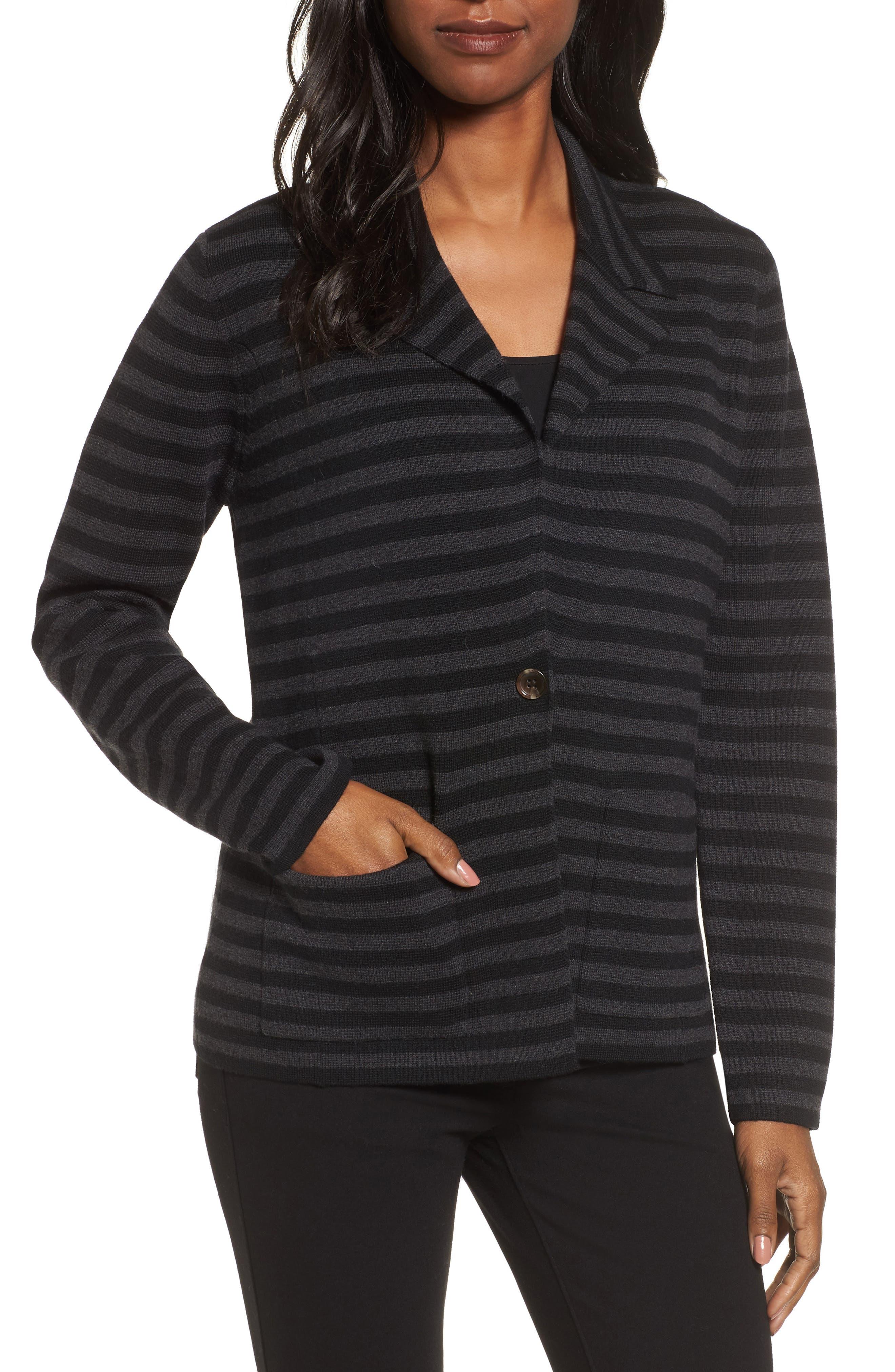 Stripe Merino Wool Knit Blazer,                         Main,                         color, Black/ Charcoal