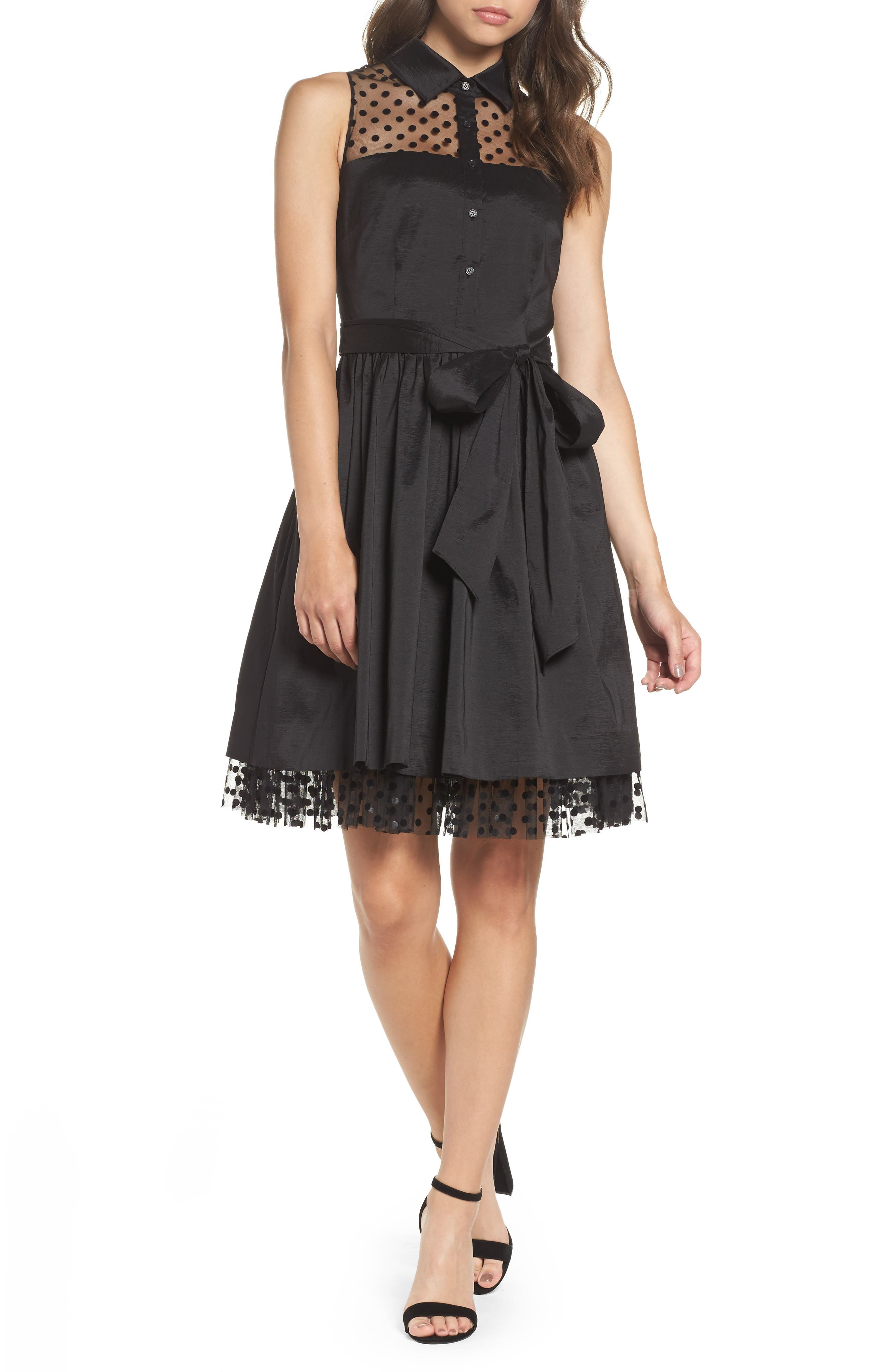 Pleated Shirtdress,                         Main,                         color, Black