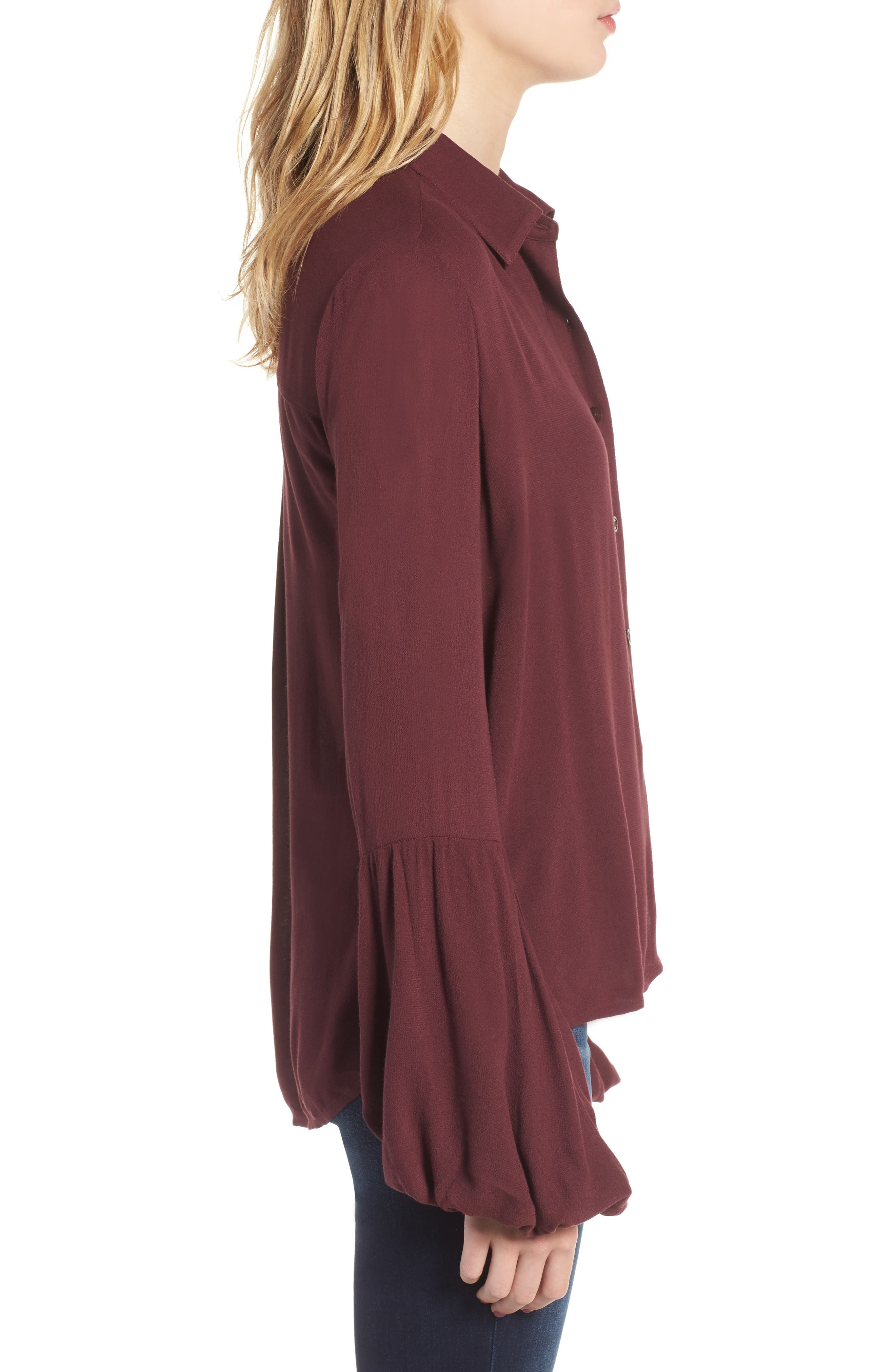 Balloon Sleeve Top,                             Alternate thumbnail 3, color,                             Burgundy Royale