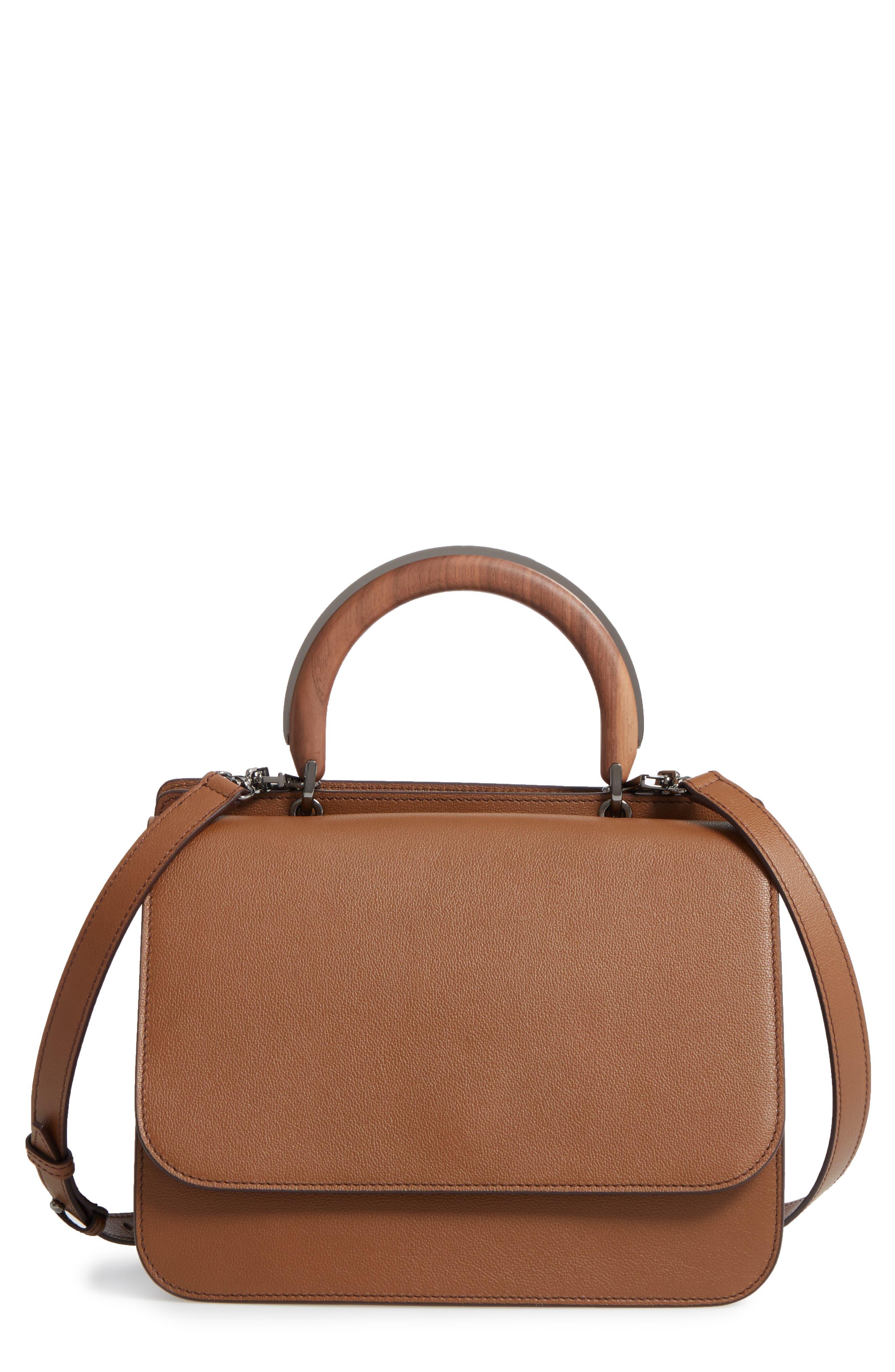 Max Mara New Venzia Wood Top Handle Leather Satchel