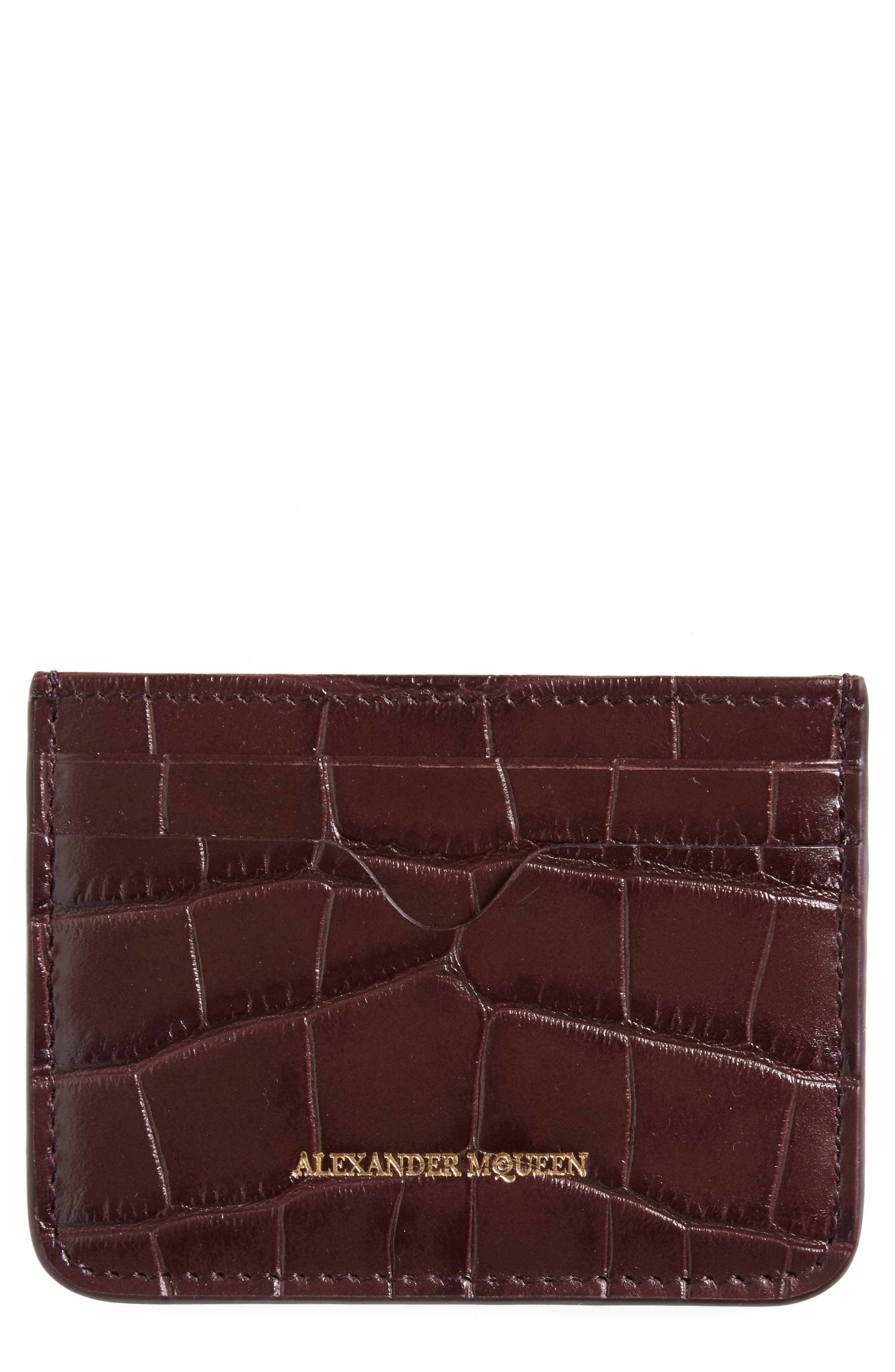 Alexander McQueen Croc Embossed Leather Card Holder