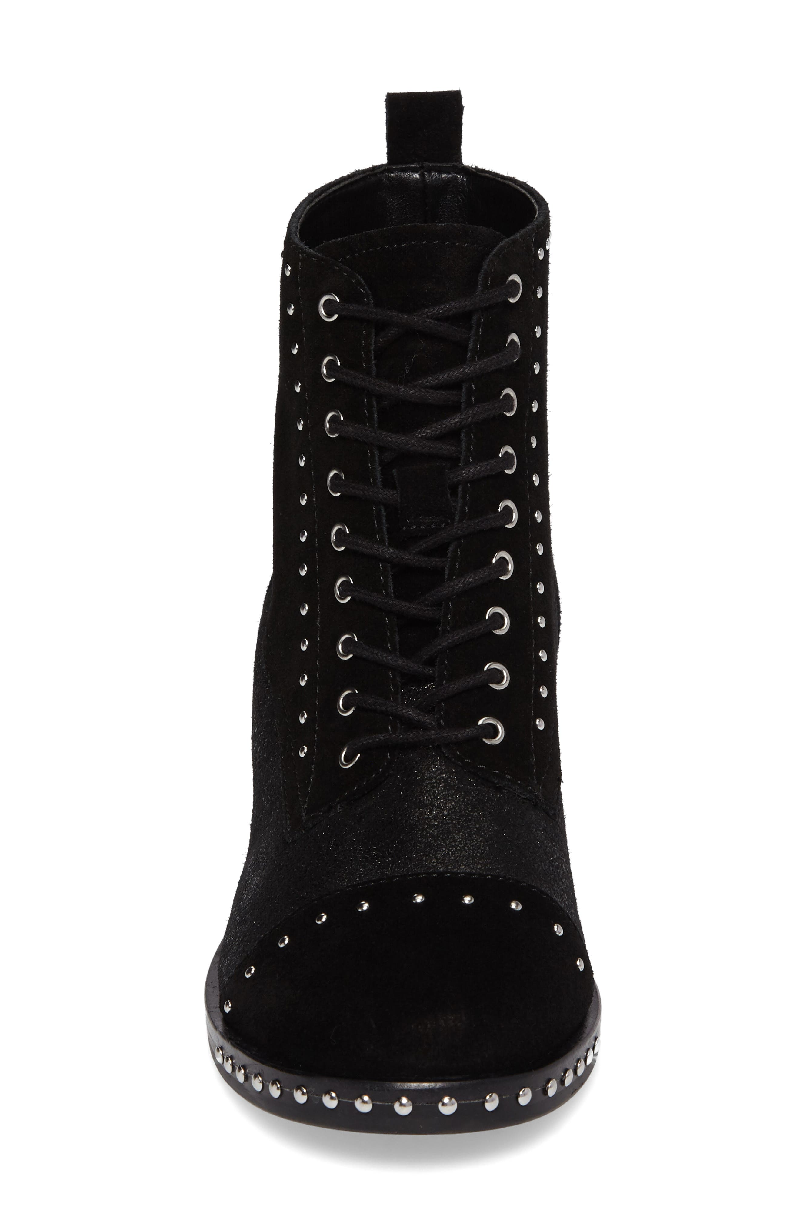 Cassidey Studded Cap Toe Bootie,                             Alternate thumbnail 4, color,                             Black Suede