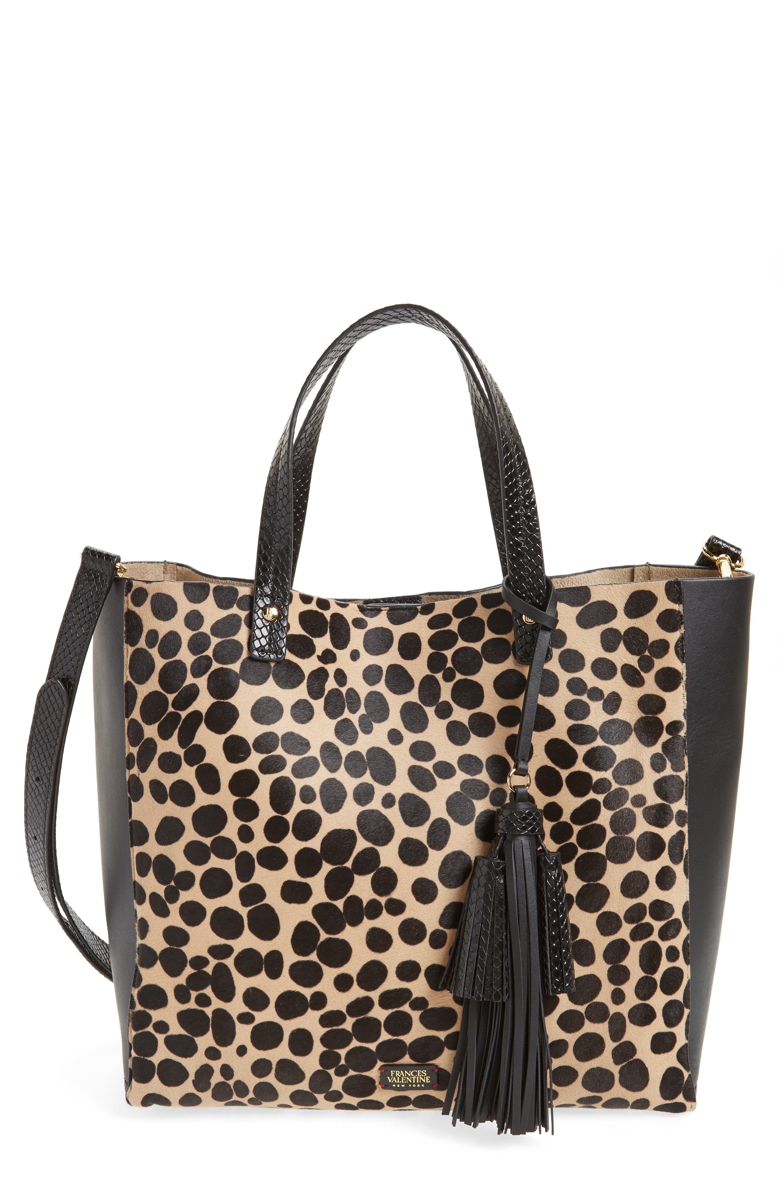 Frances Valentine Genuine Calf Hair & Leather Convertible Tote