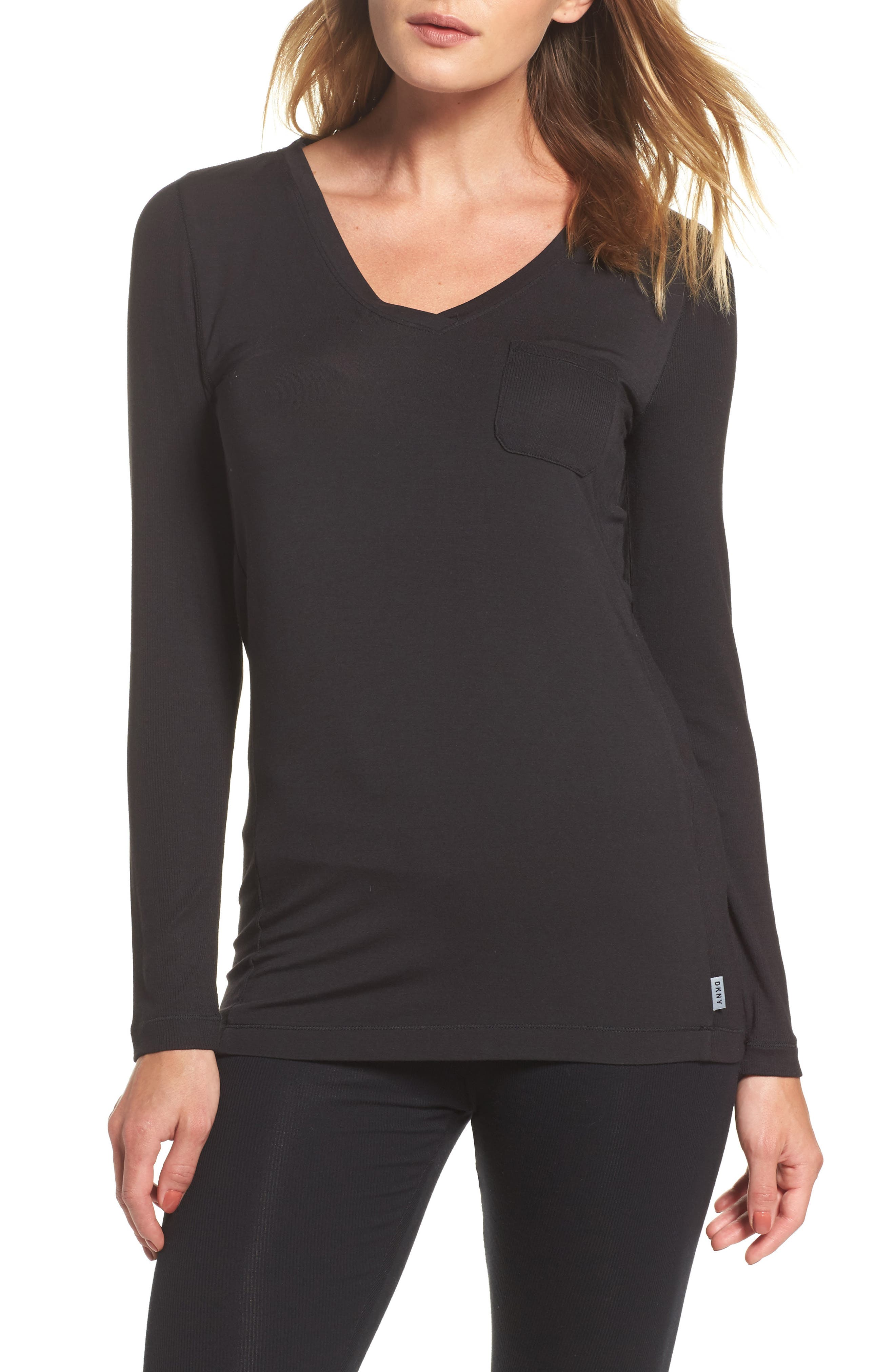 'City Essential' Long Sleeve Tee,                             Main thumbnail 1, color,                             Black