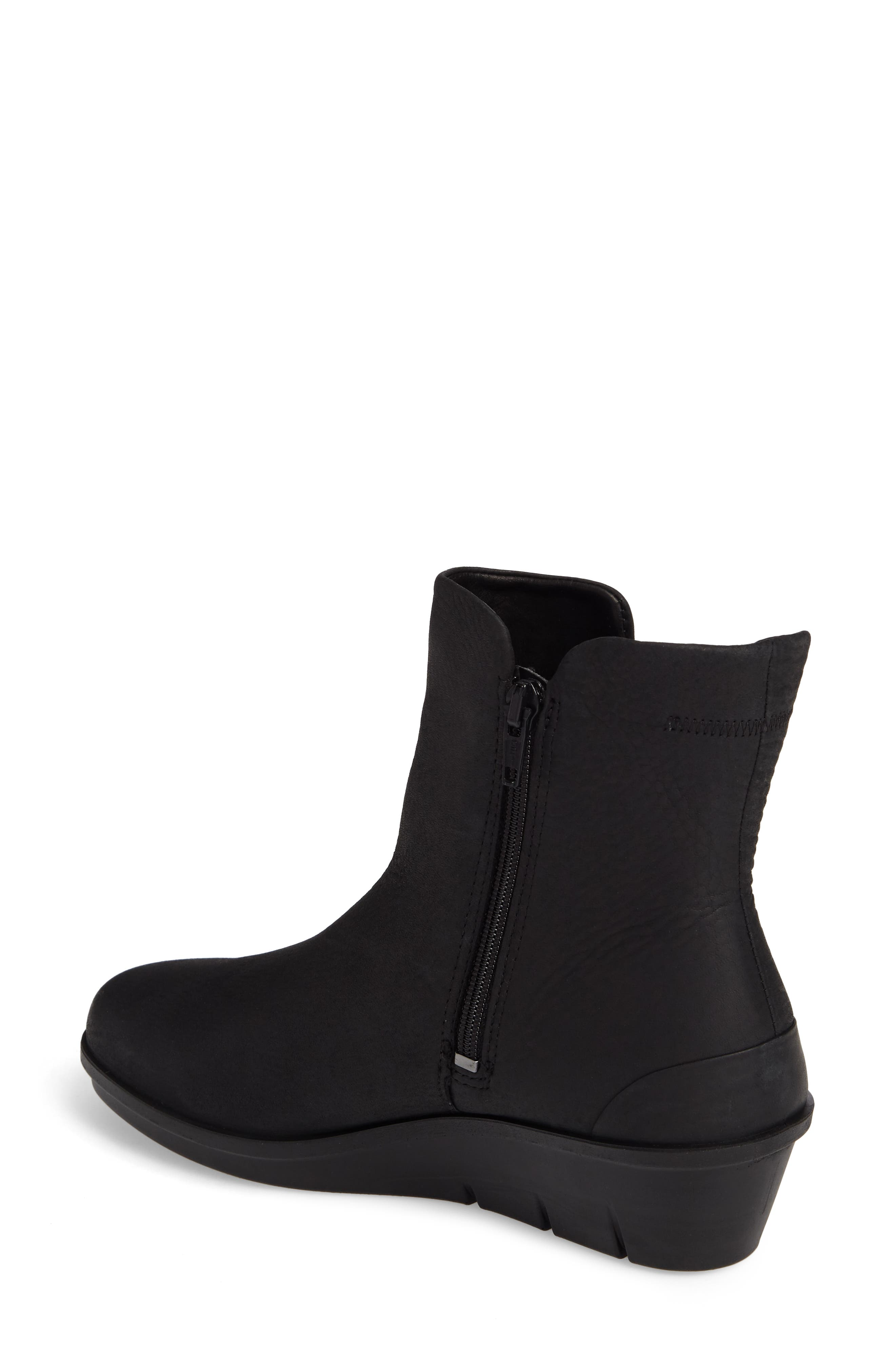 Skyler Notched Wedge Bootie,                             Alternate thumbnail 2, color,                             Black Leather