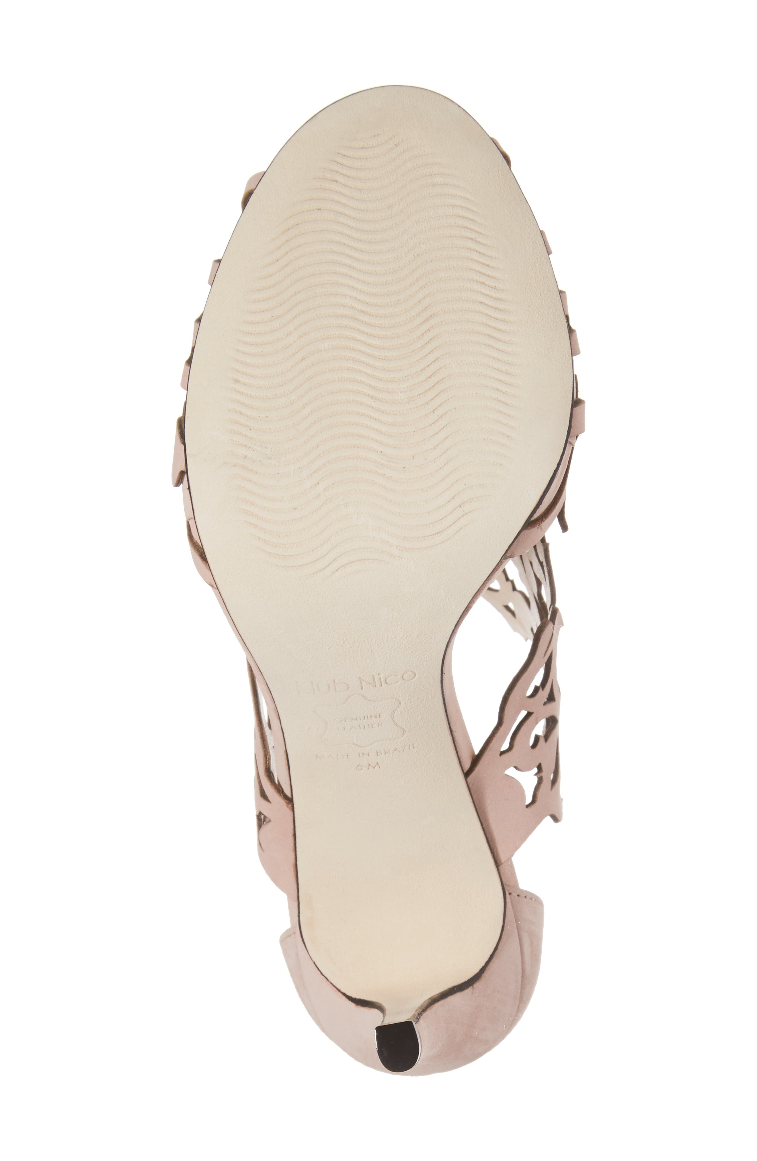 Marcela Laser Cutout Sandal,                             Alternate thumbnail 6, color,                             Blush Nubuck Leather
