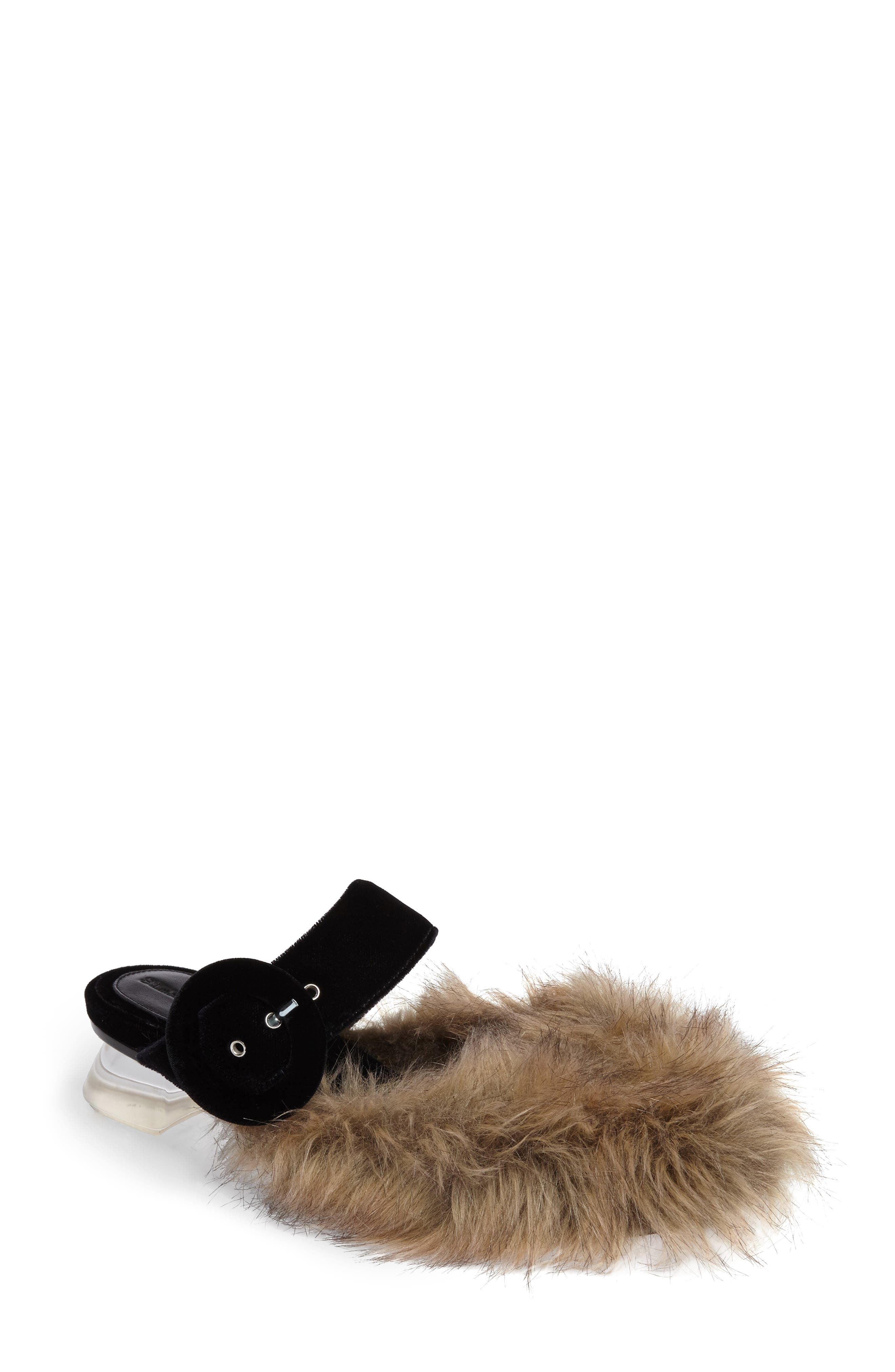 Simone Rocha Faux Fur Mule with Mini Perspex® Heel (Women)