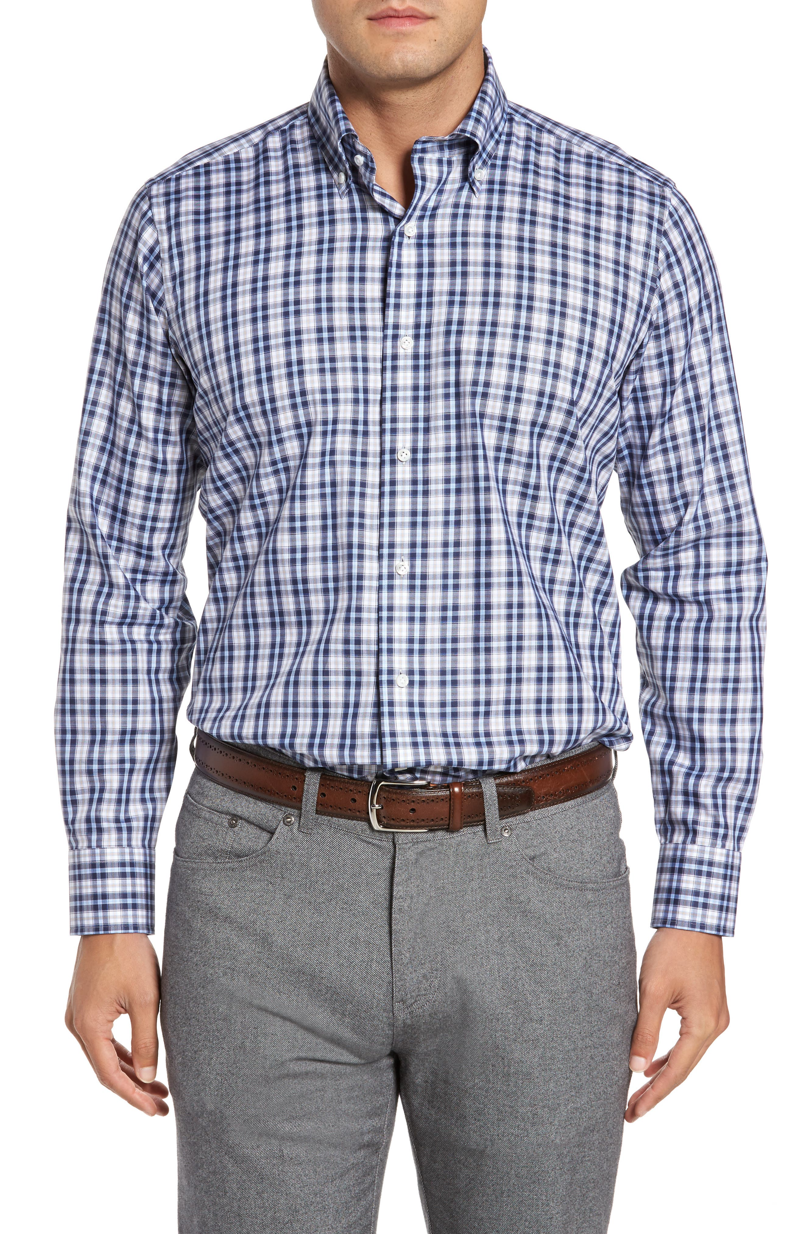 Alternate Image 1 Selected - Peter Millar Peyto Regular Fit Plaid Sport Shirt