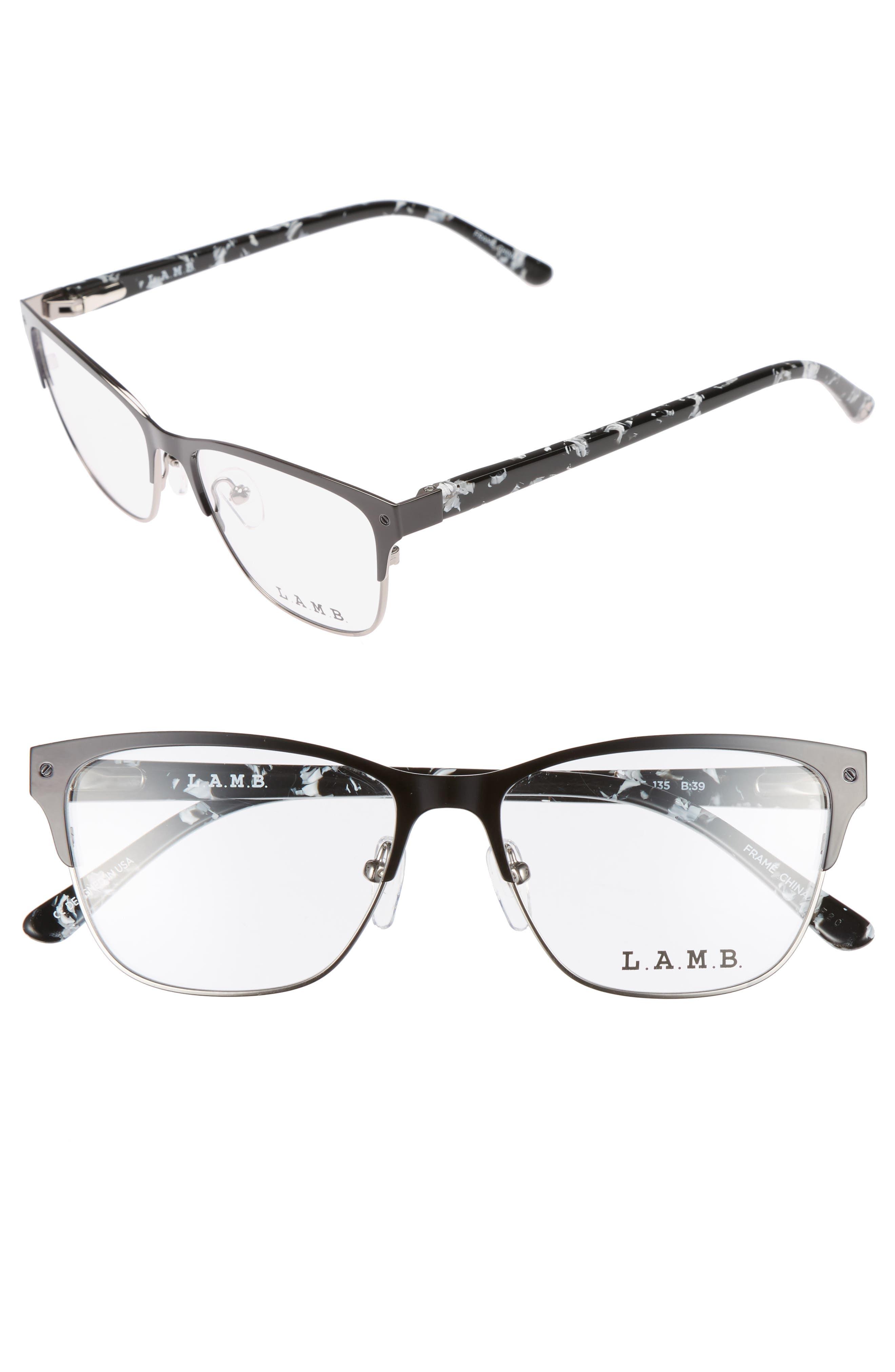 52mm Cat Eye Optical Glasses,                             Main thumbnail 1, color,                             Black