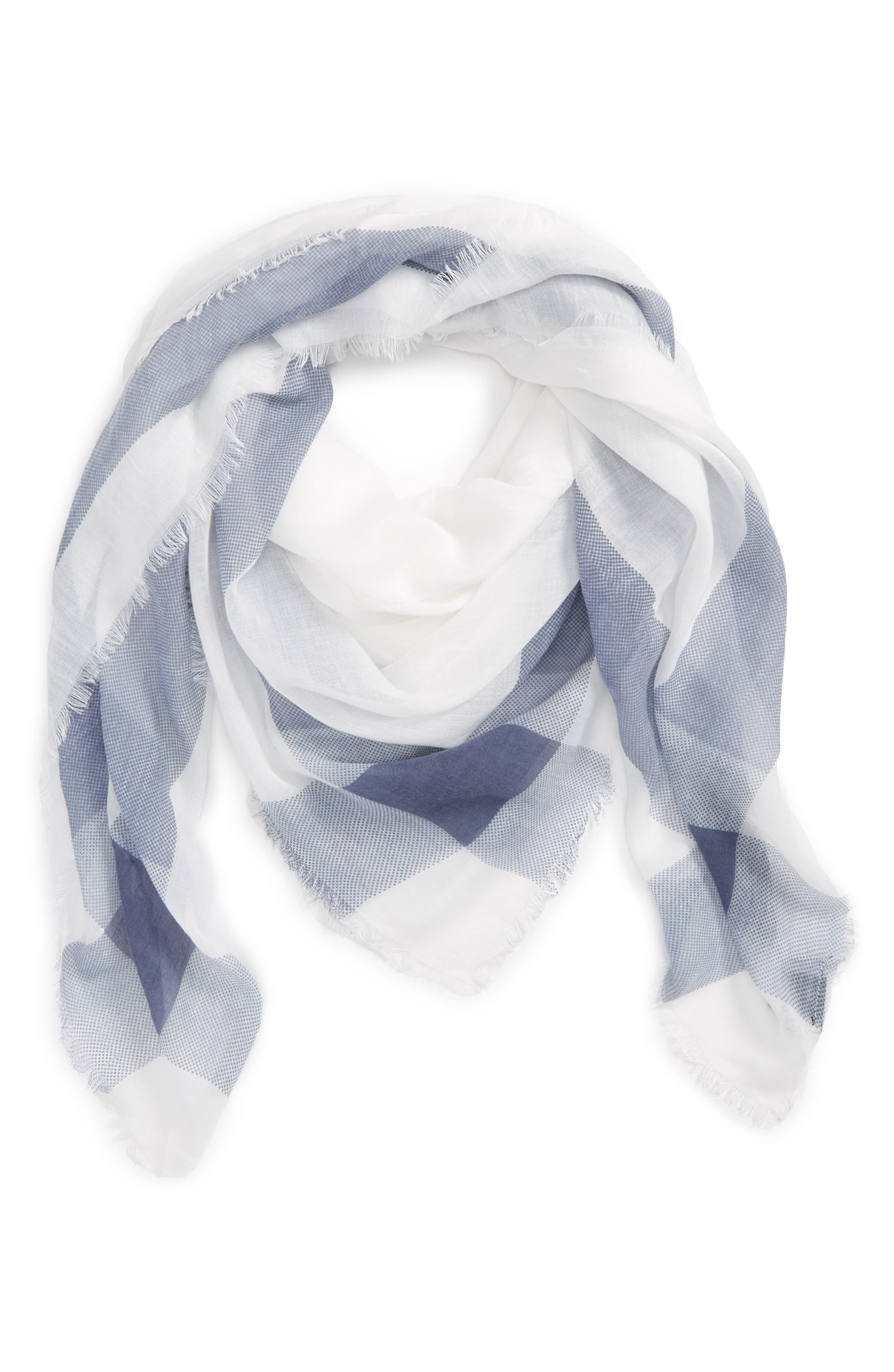 Plaid Square Scarf,                         Main,                         color, Ivory/ Blue