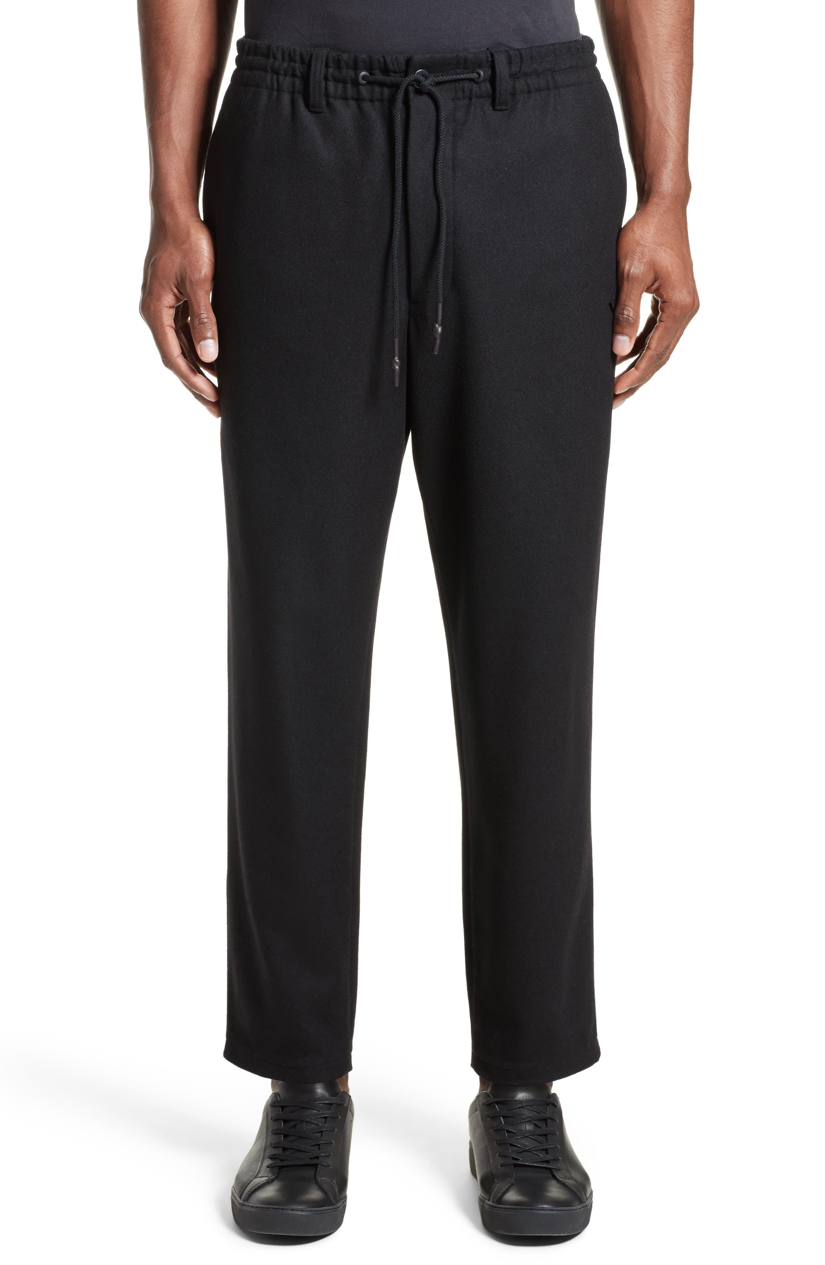 Cropped Wool Blend Pants,                         Main,                         color, Black